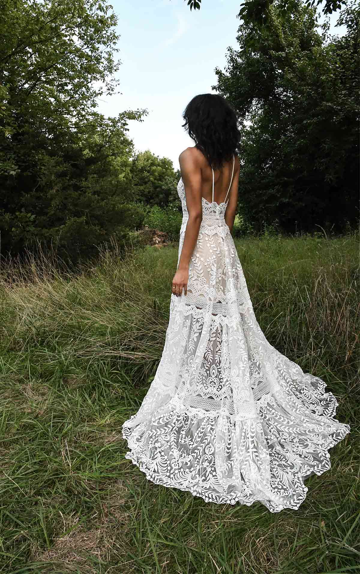 Alyx Casual Lightweight A-Line Wedding Dress with Vintage Lace Details by All Who Wander