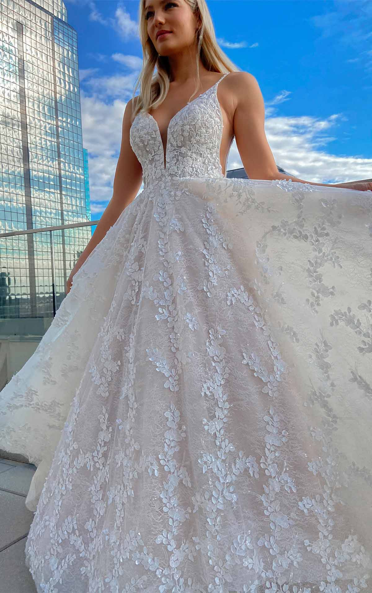 1325 Backless Romantic A-Line Wedding Dress with 3D Floral Detail by Martina Liana
