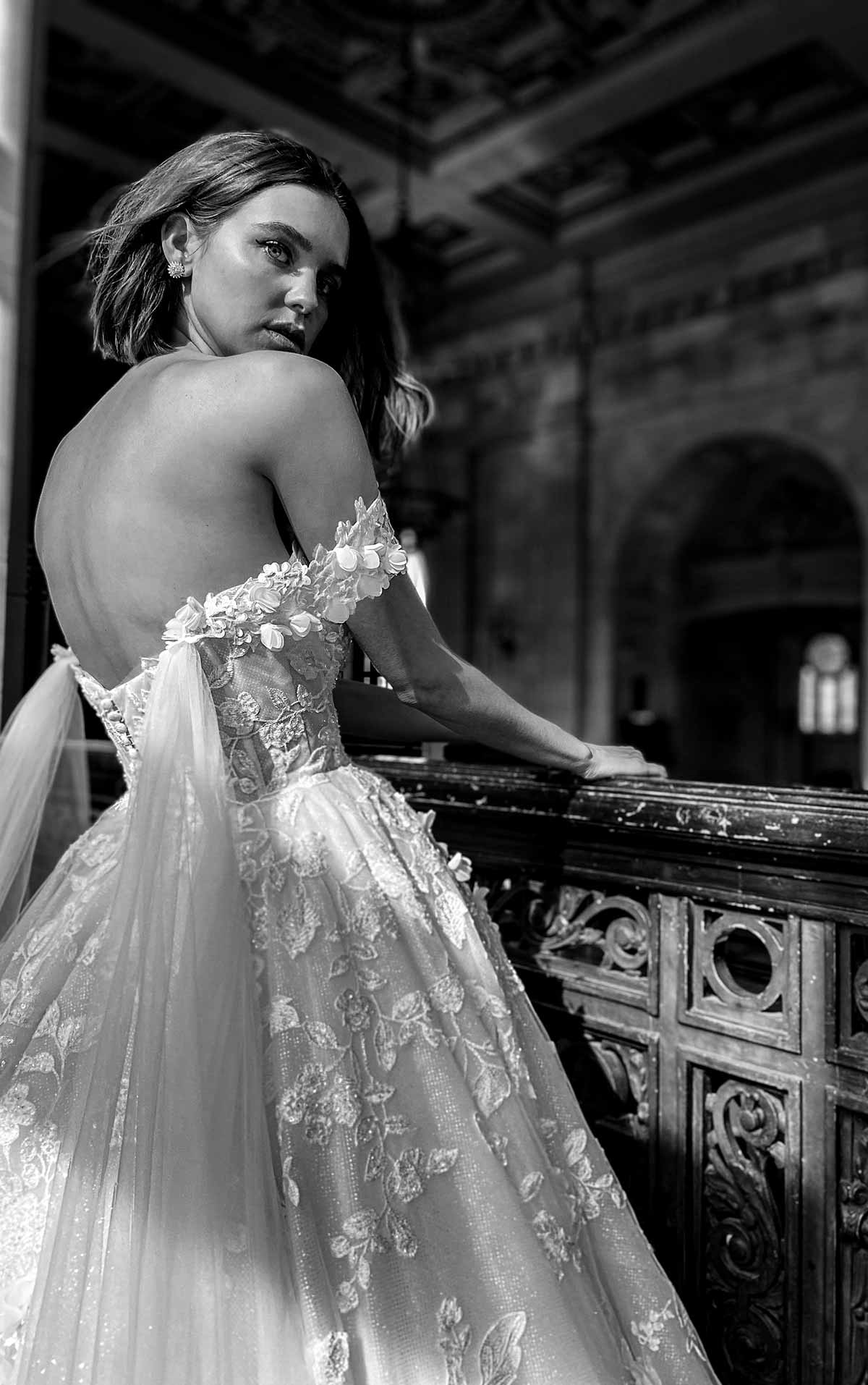 LE1117 High-Volume Lace Ballgown with Tulle Streamers by Martina Liana