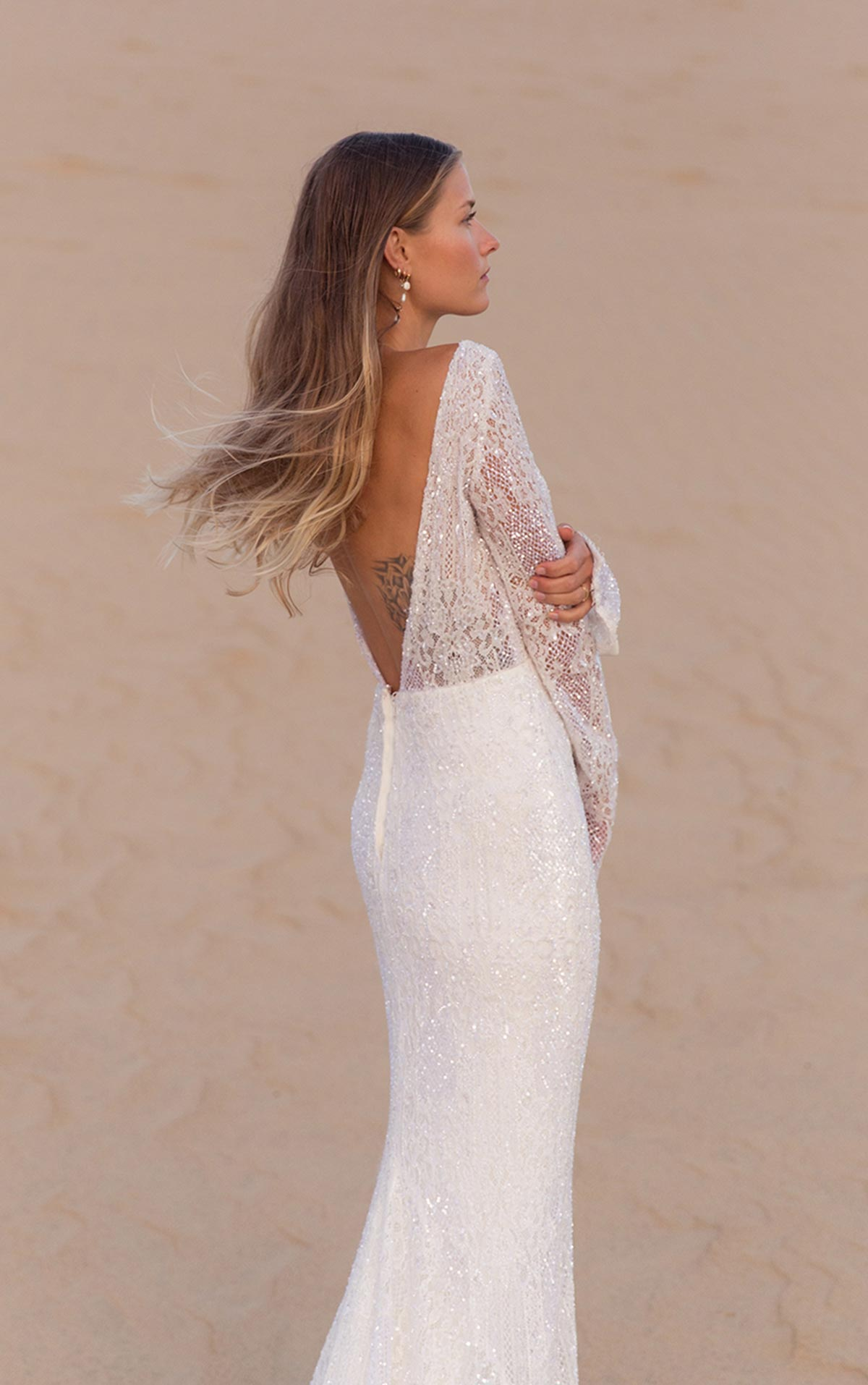 LE1113 Backless Sparkling Lace and Tulle Sheath with Long Sleeves by Martina Liana