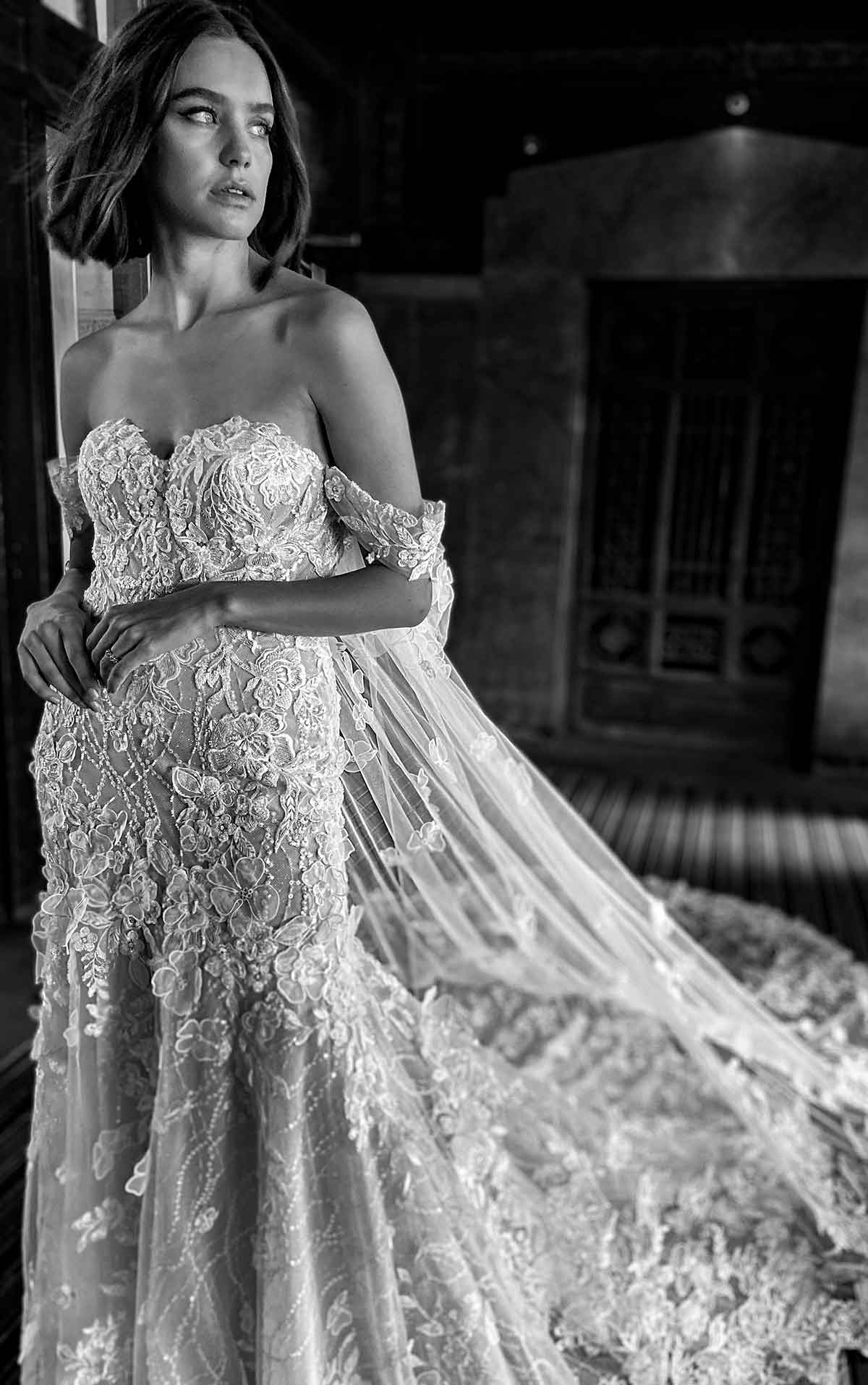 LE1124 Modern Floral Fit-and-Flare Wedding Dress with Detachable Cape by Martina Liana