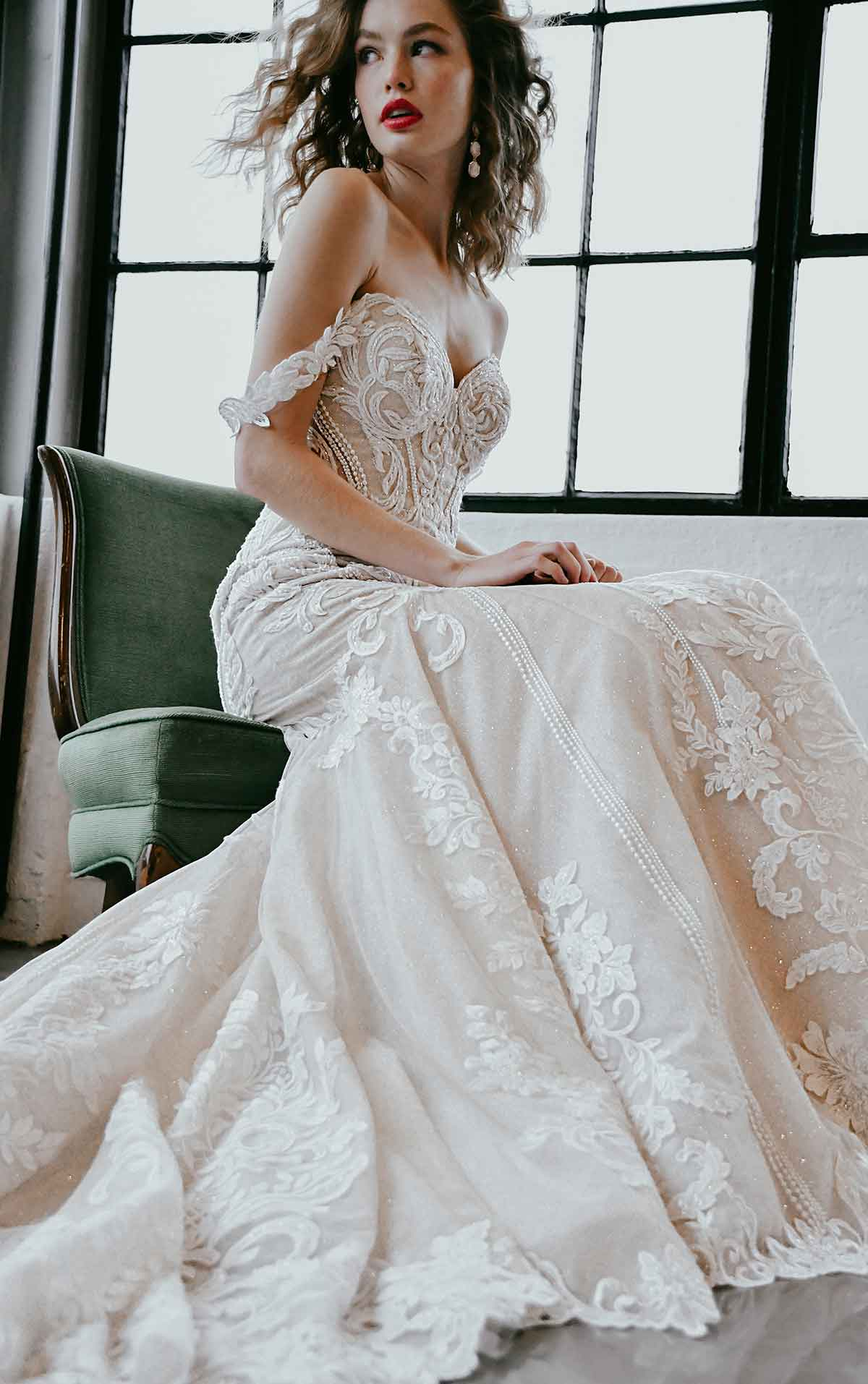 1267 Off-Shoulder  Lace Wedding Dress with Shaped Train by Martina Liana