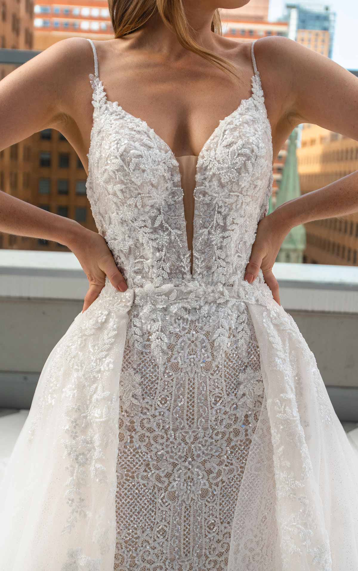 LE1125 Sleek Fit-and-Flare Beaded Wedding Gown with Overskirt by Martina Liana