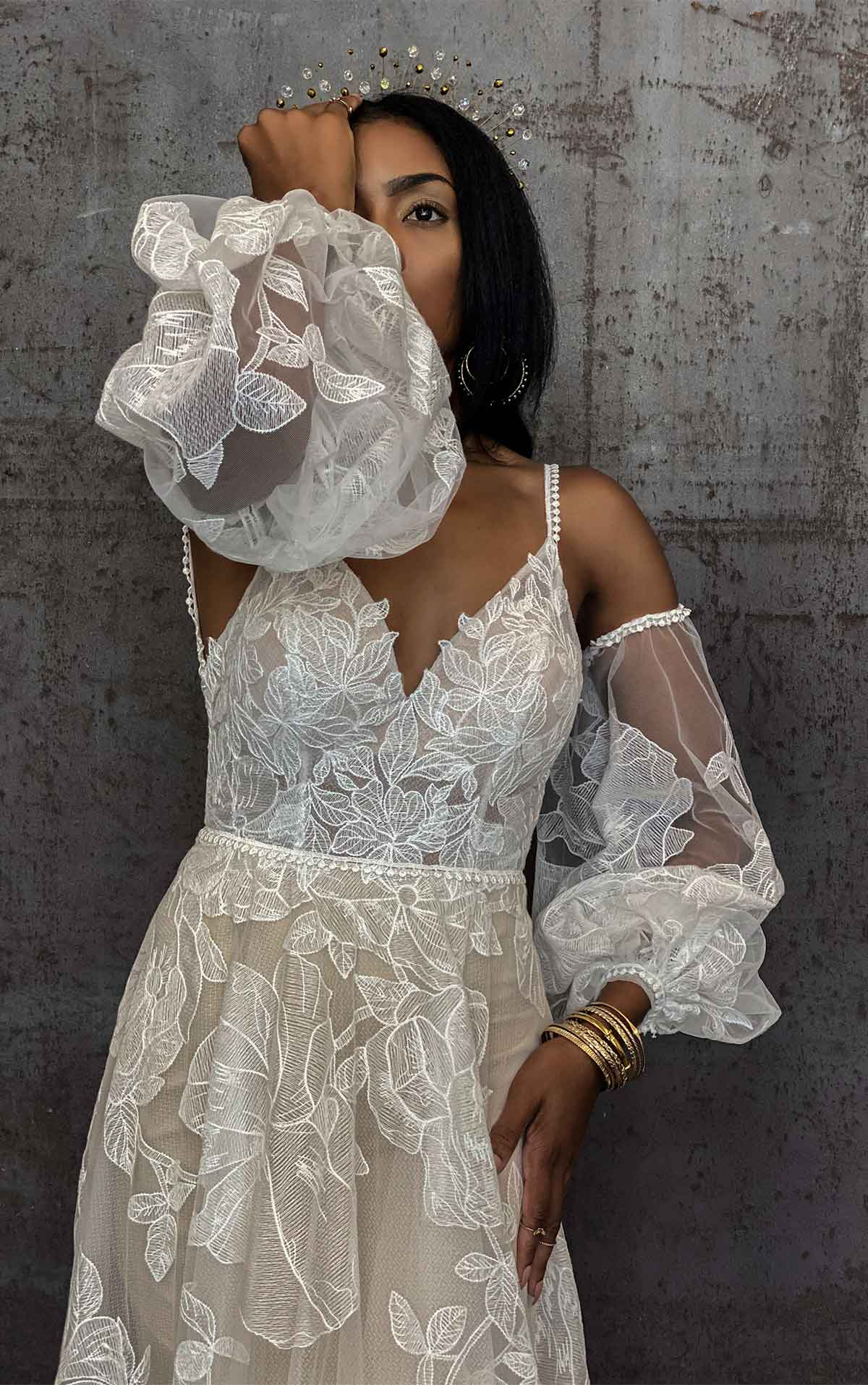 Aspen Dreamy Boho Wedding Dress with Open Back and Botanical Lace Details by All Who Wander
