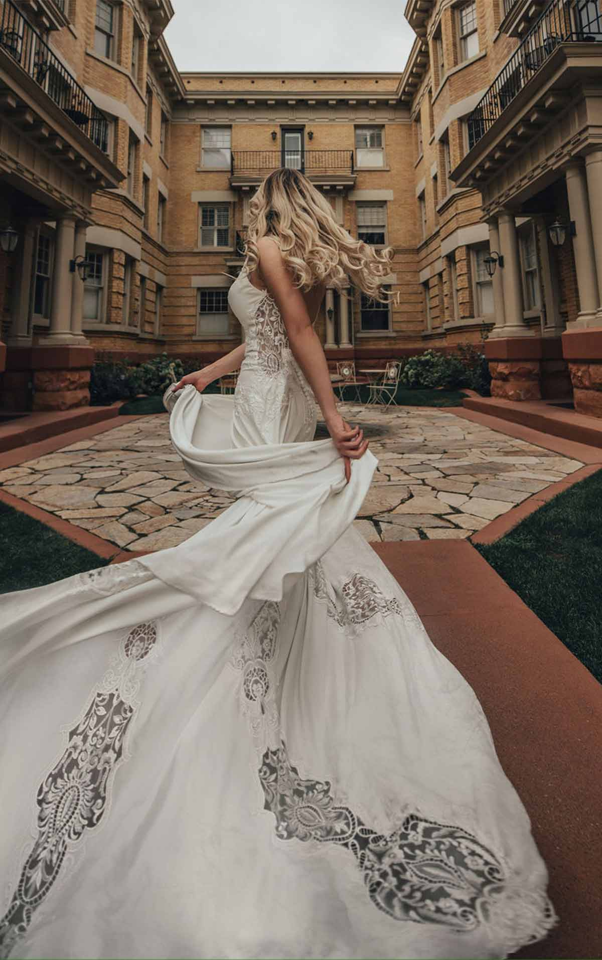 Delta Embroidered Boho Wedding Dress with Textured Lace and Plunging Sweetheart Neckline by All Who Wander
