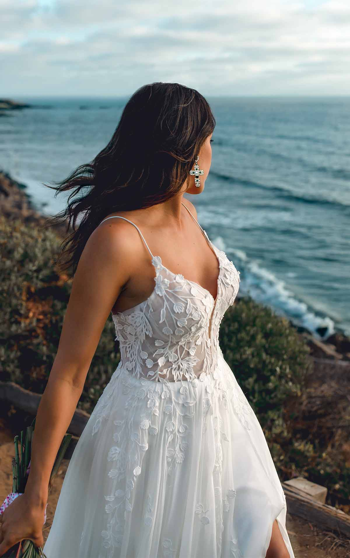 Muse Modern A-Line Boho Wedding Dress with Minimalist Straps and Plunging V-Neck by All Who Wander