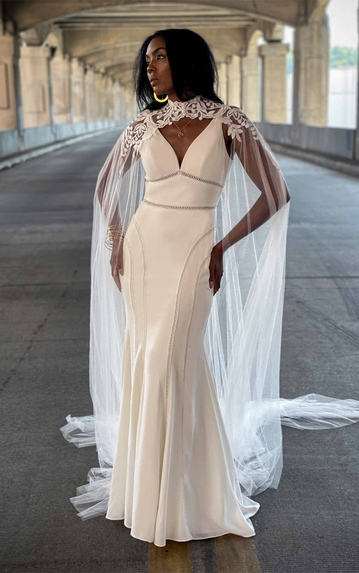 Rory Casual Summer Boho Crepe Wedding Dress with Deep-V Neckline by All Who Wander