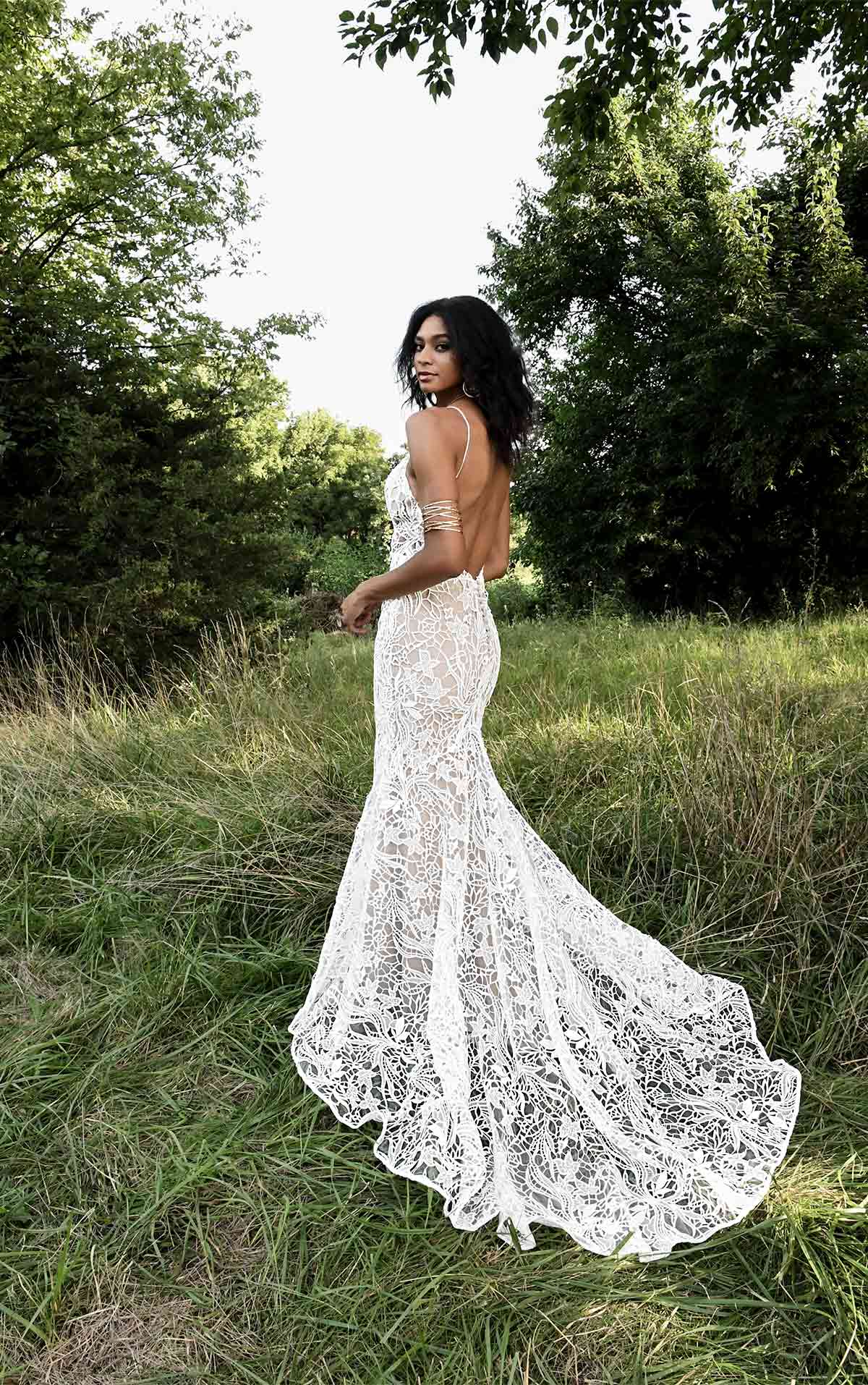 Bodhi Unique Lace Boho Wedding Dress with Sheer Bodice by All Who Wander