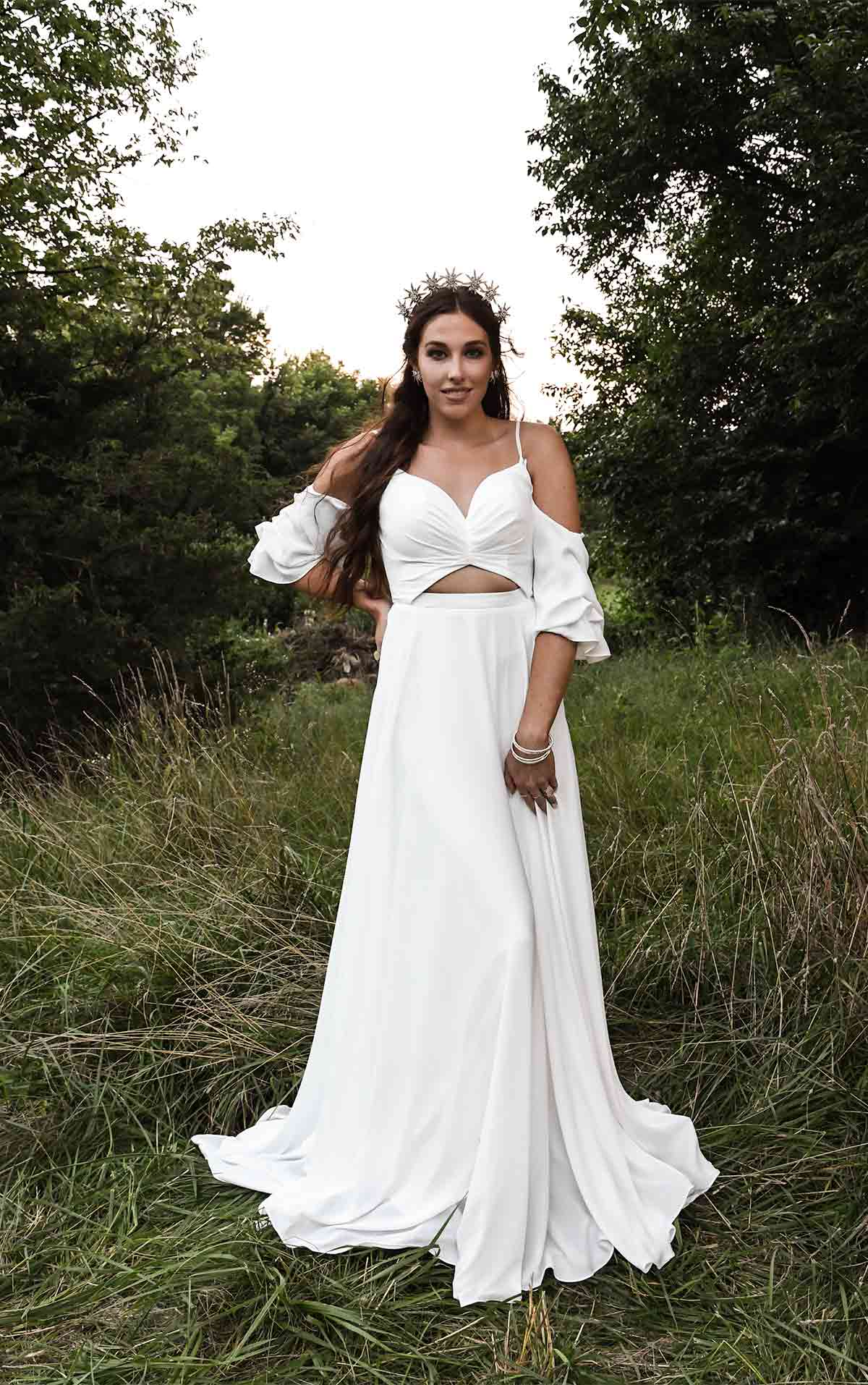 Thea Crepe Boho Beach Wedding Dress with Off-Shoulder Sleeves and Cutouts by All Who Wander