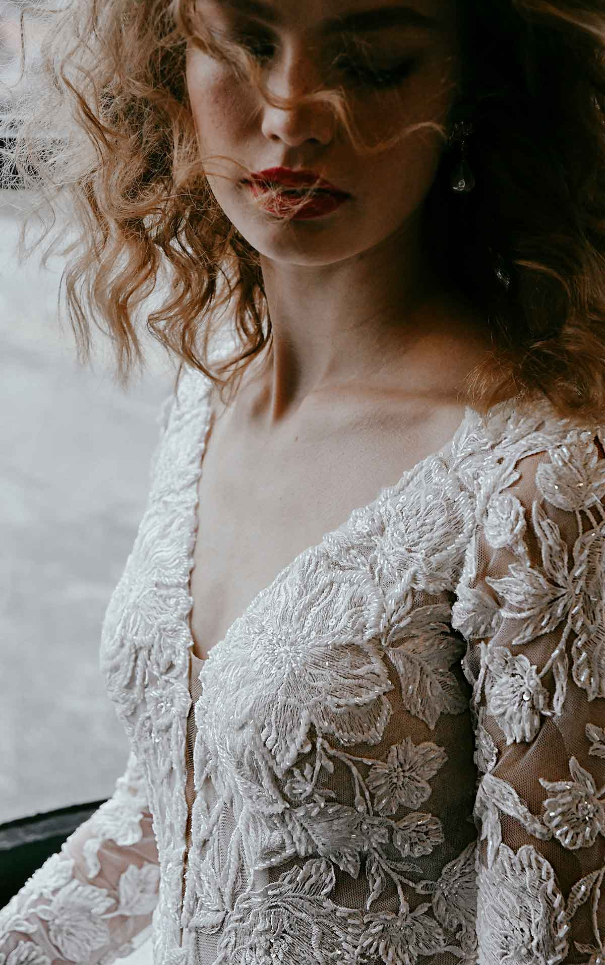 1302 Elegant Lace Wedding Dress with Plunge Back and Long Sleeves by Martina Liana