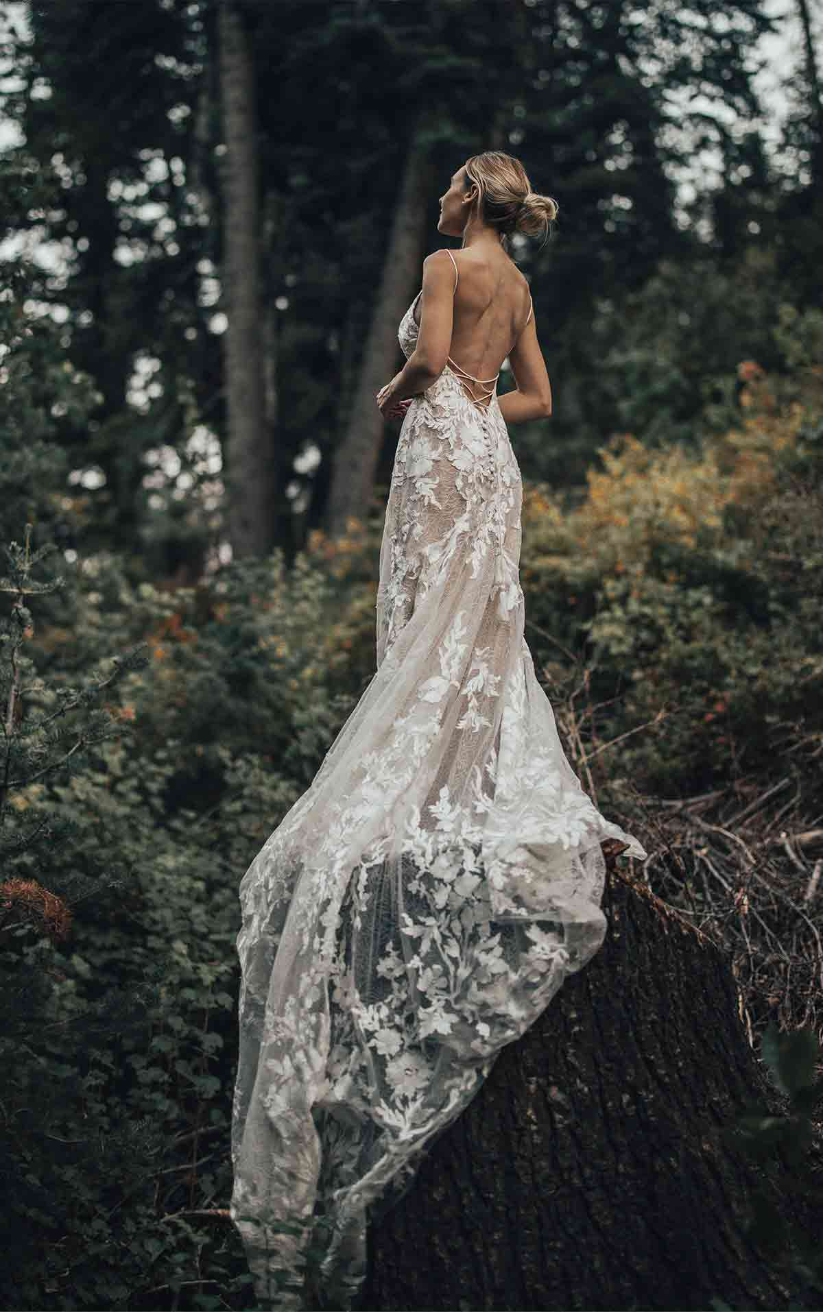 Bowie Boho Lace Wedding Dress with Embroidered Tulle and Open Back by All Who Wander