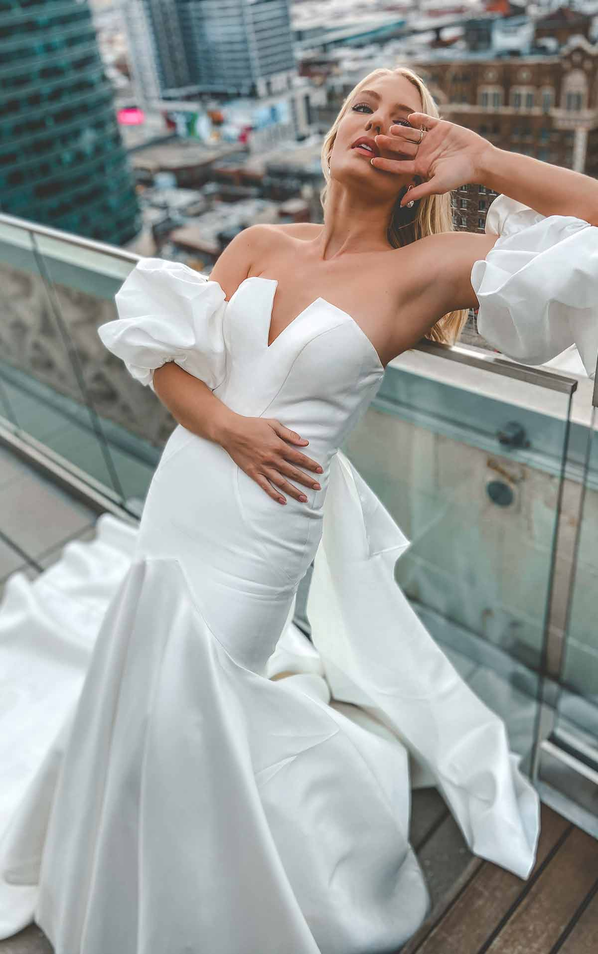 1266 Sleek and Modern Mermaid Wedding Gown with Puffed Sleeves by Martina Liana