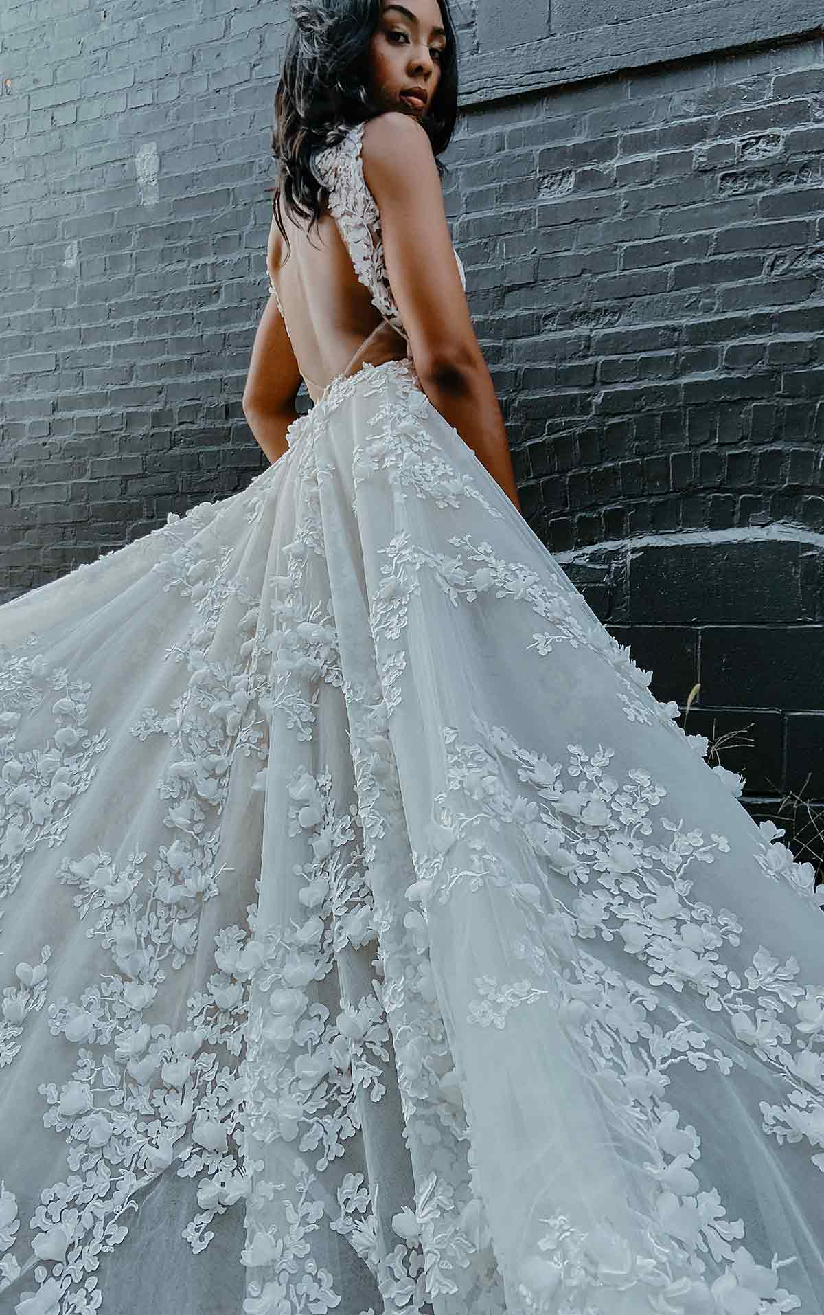 LE1118 3D Floral Lace Wedding Dress with Sleeves by Martina Liana