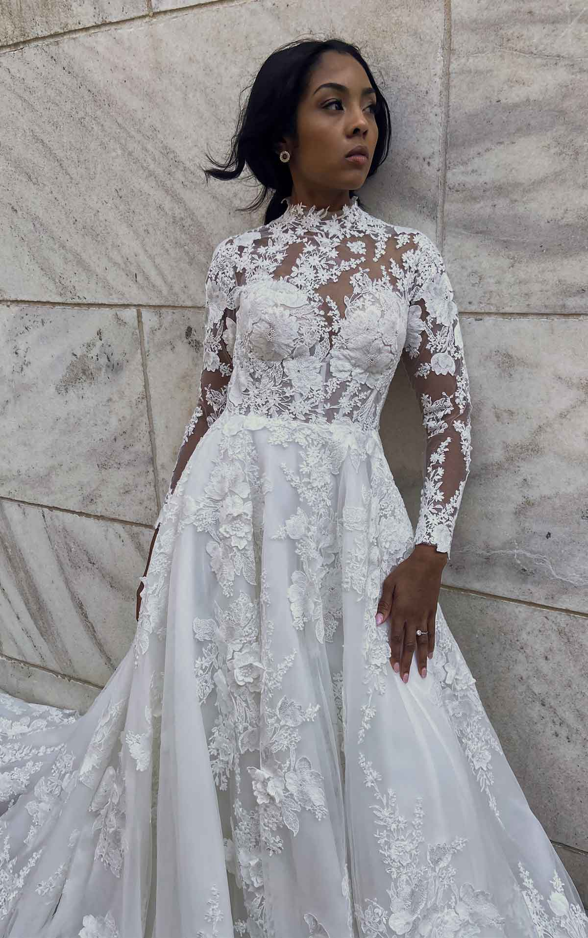 LE1128 High-Neck Ballgown with Cotton Lace and Long Sleeves by Martina Liana