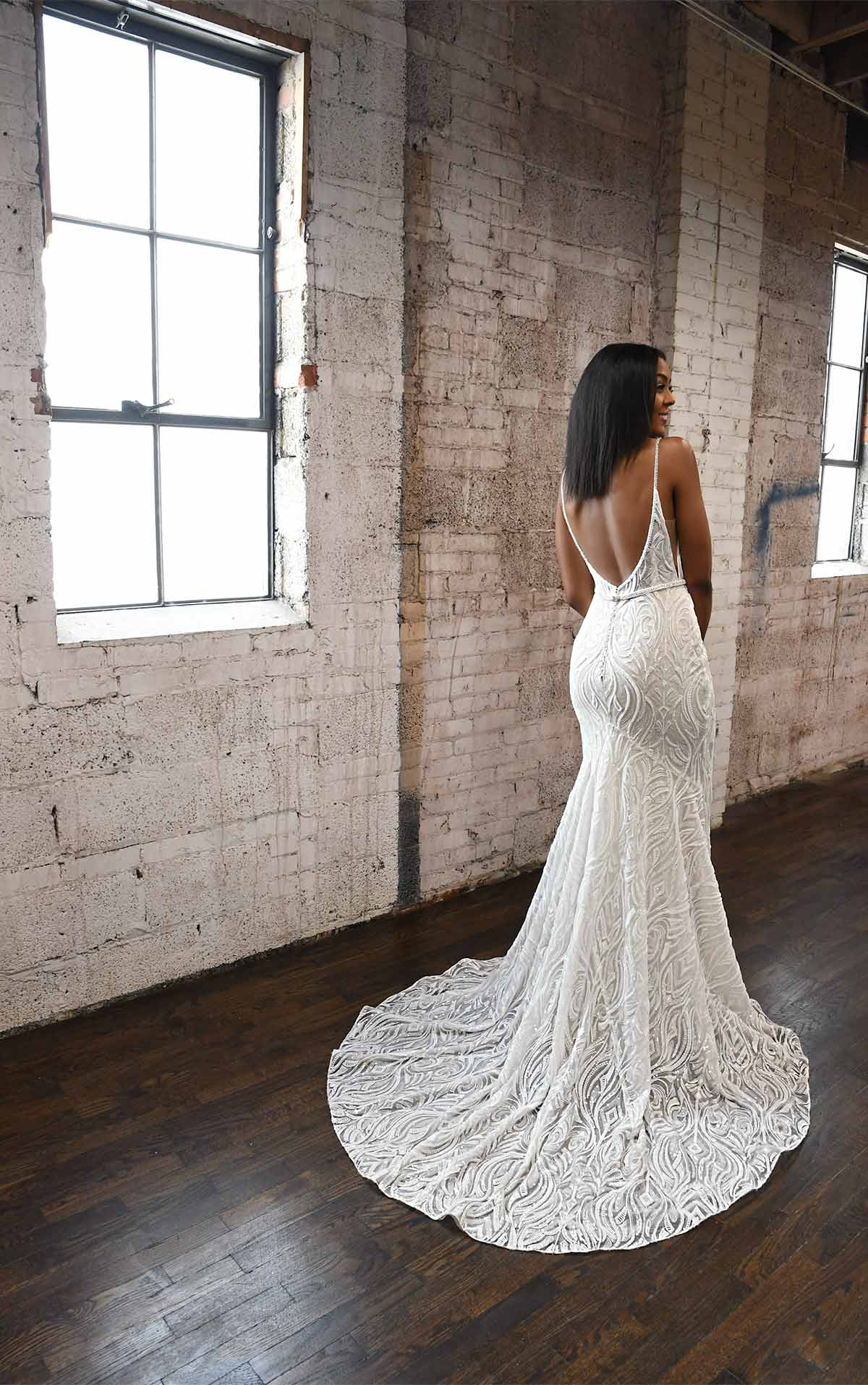 1306 Graphic Lace Fit-and-Flare Wedding Dress with Sequins and Beading by Martina Liana