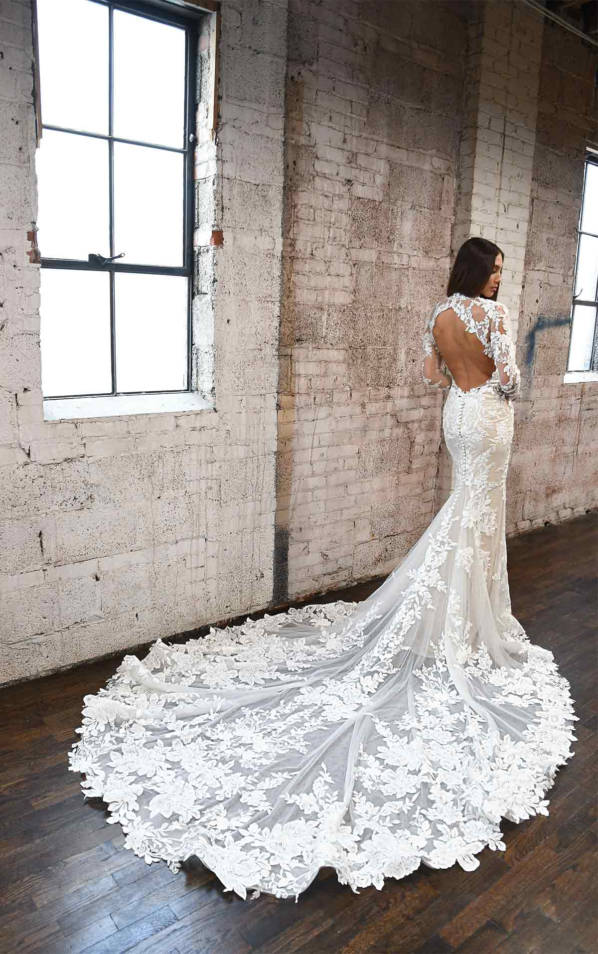 1334 Lace High-Neck Wedding Dress with Long Sleeves by Martina Liana