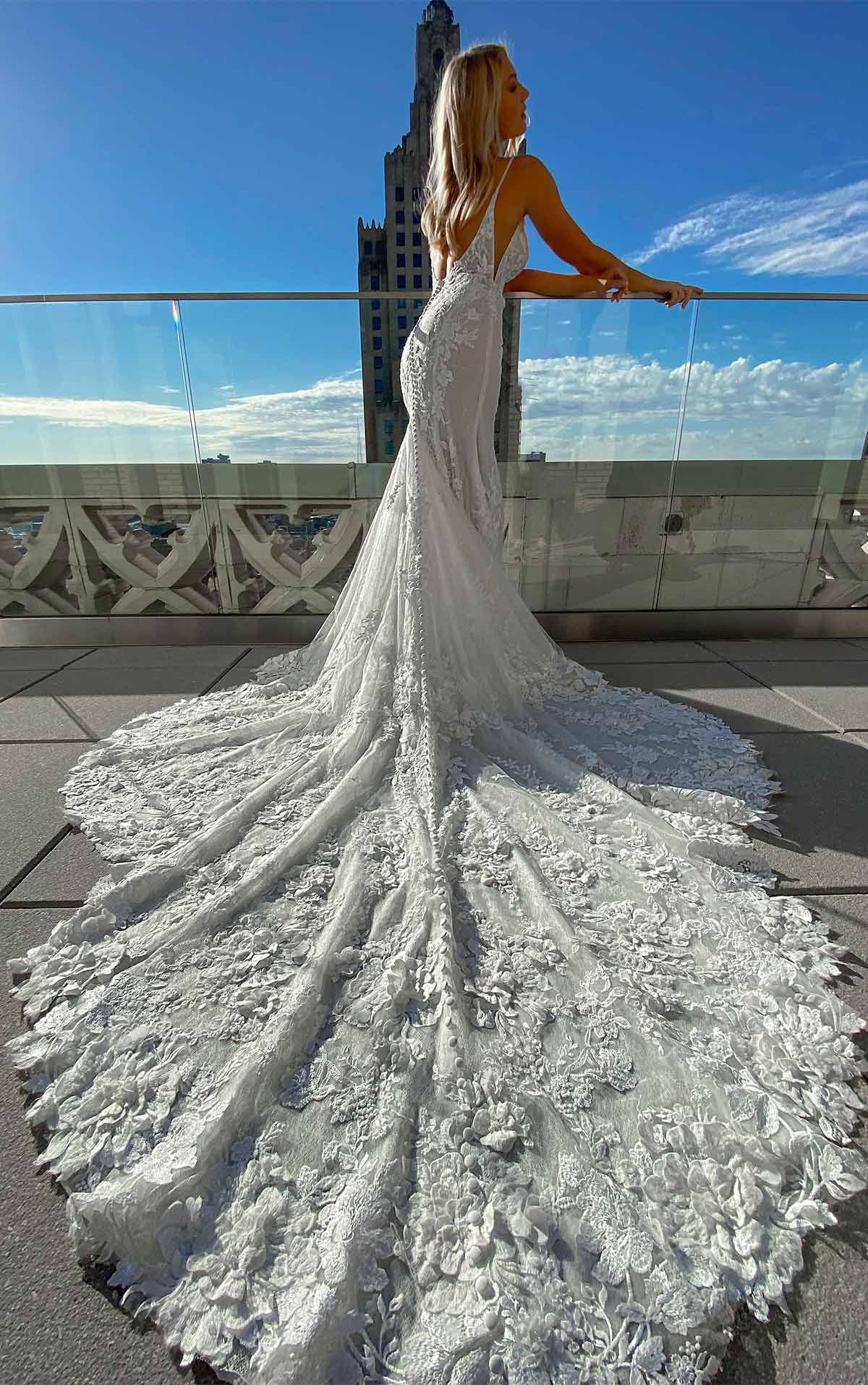 1305 Sexy 3D Lace Wedding Dress with V-Neck and Beading by Martina Liana