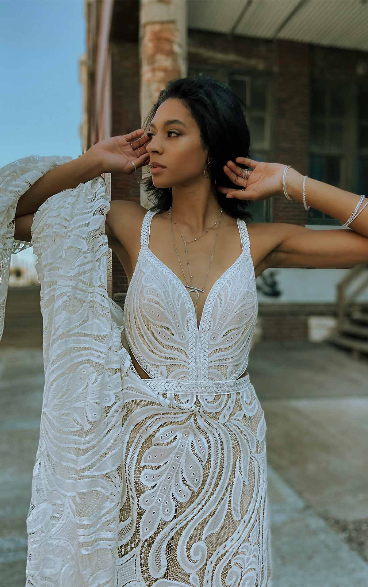 Jaden Sexy Summer Wedding Dress with Graphic Lace and Side Cutouts by All Who Wander