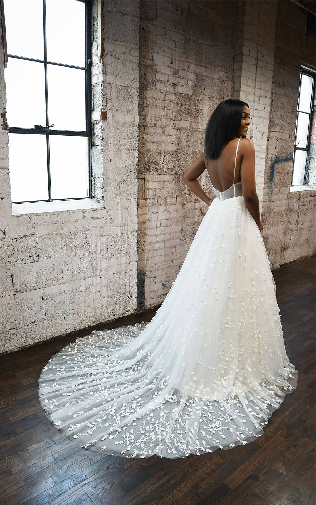 1329 Simple and Casual Wedding Gown with 3D Details by Martina Liana