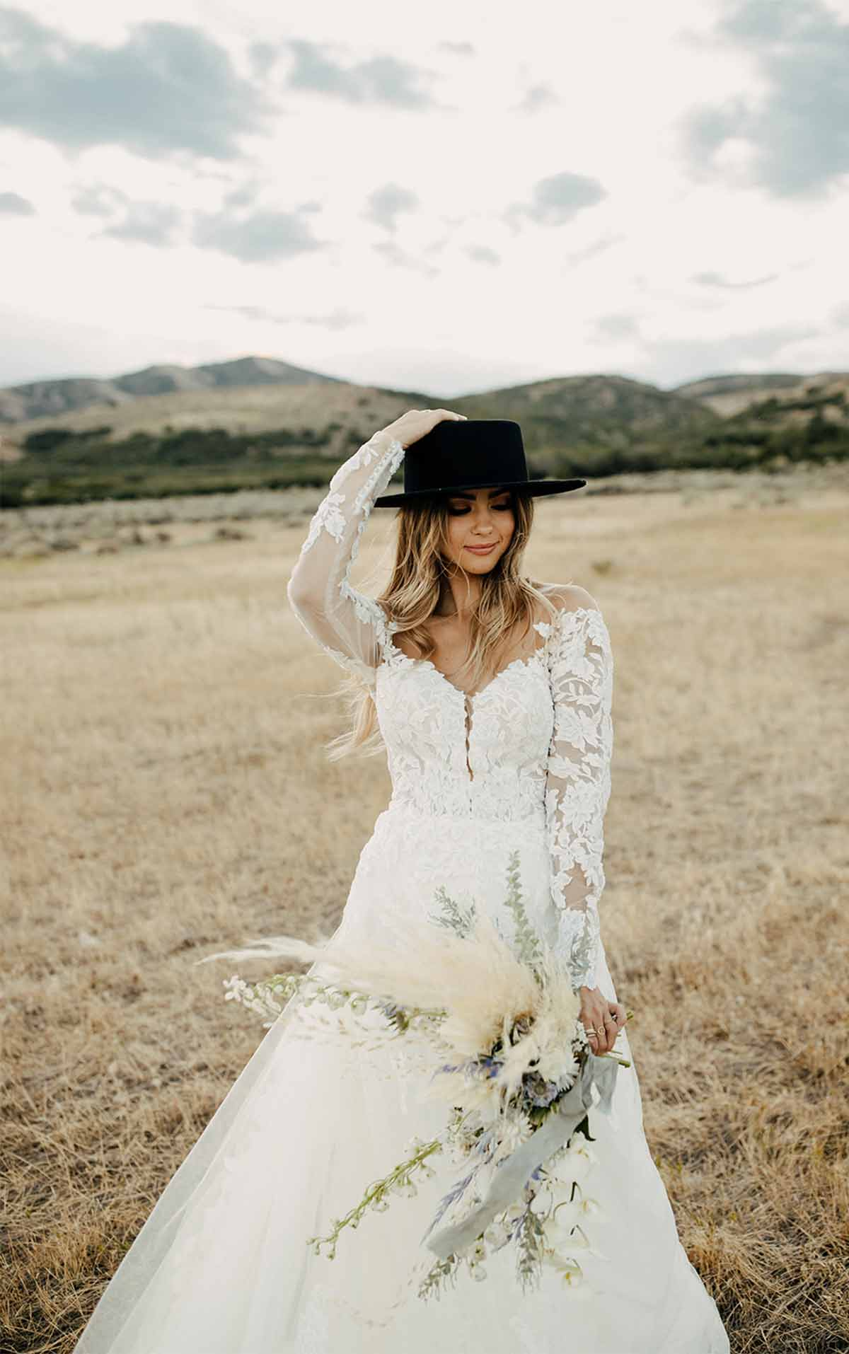 1337 Bold and Classic Lace Wedding Dress with Sleeves by Martina Liana