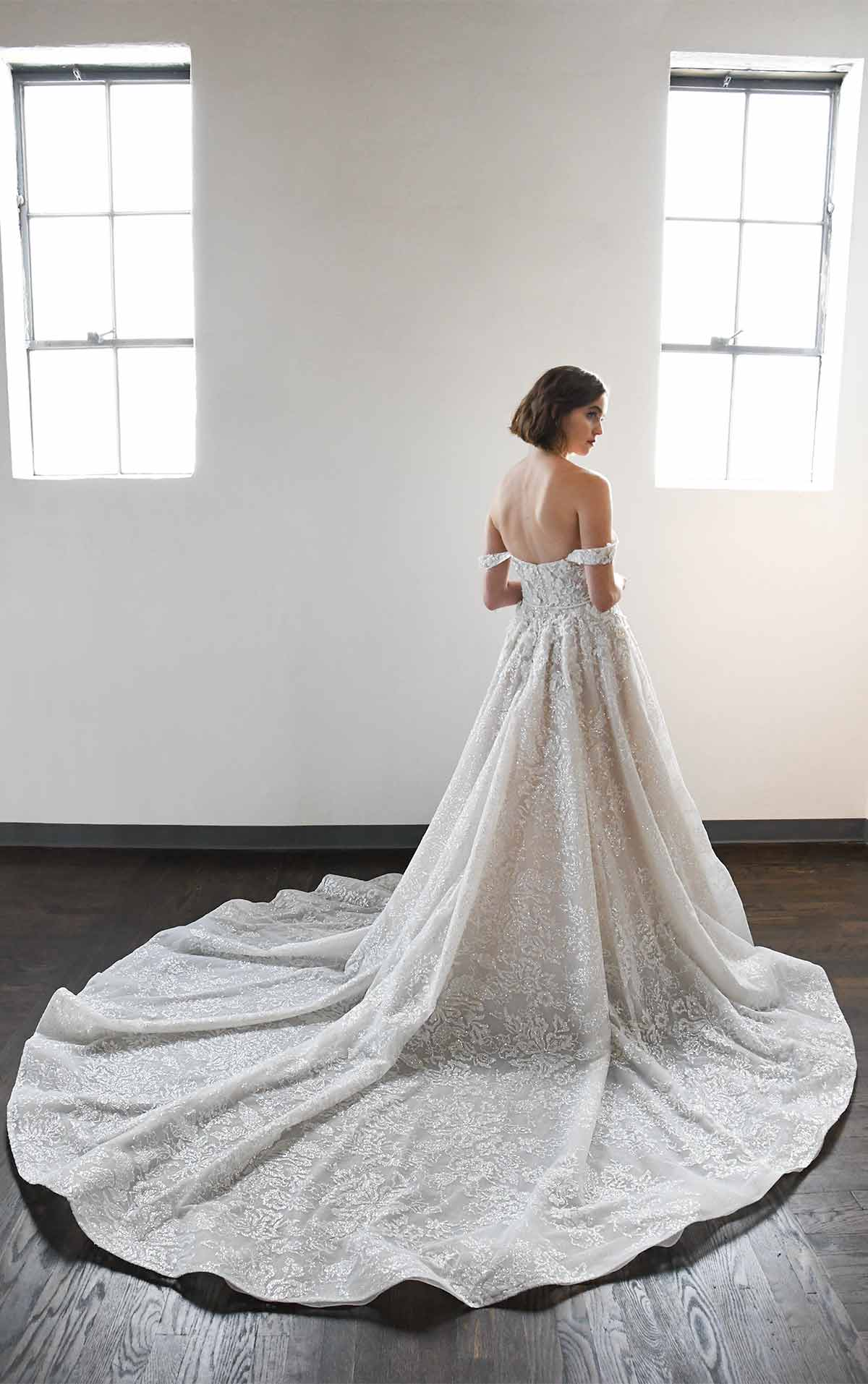 LE1129 Classic and Romantic Off-Shoulder Ballgown with Pockets by Martina Liana