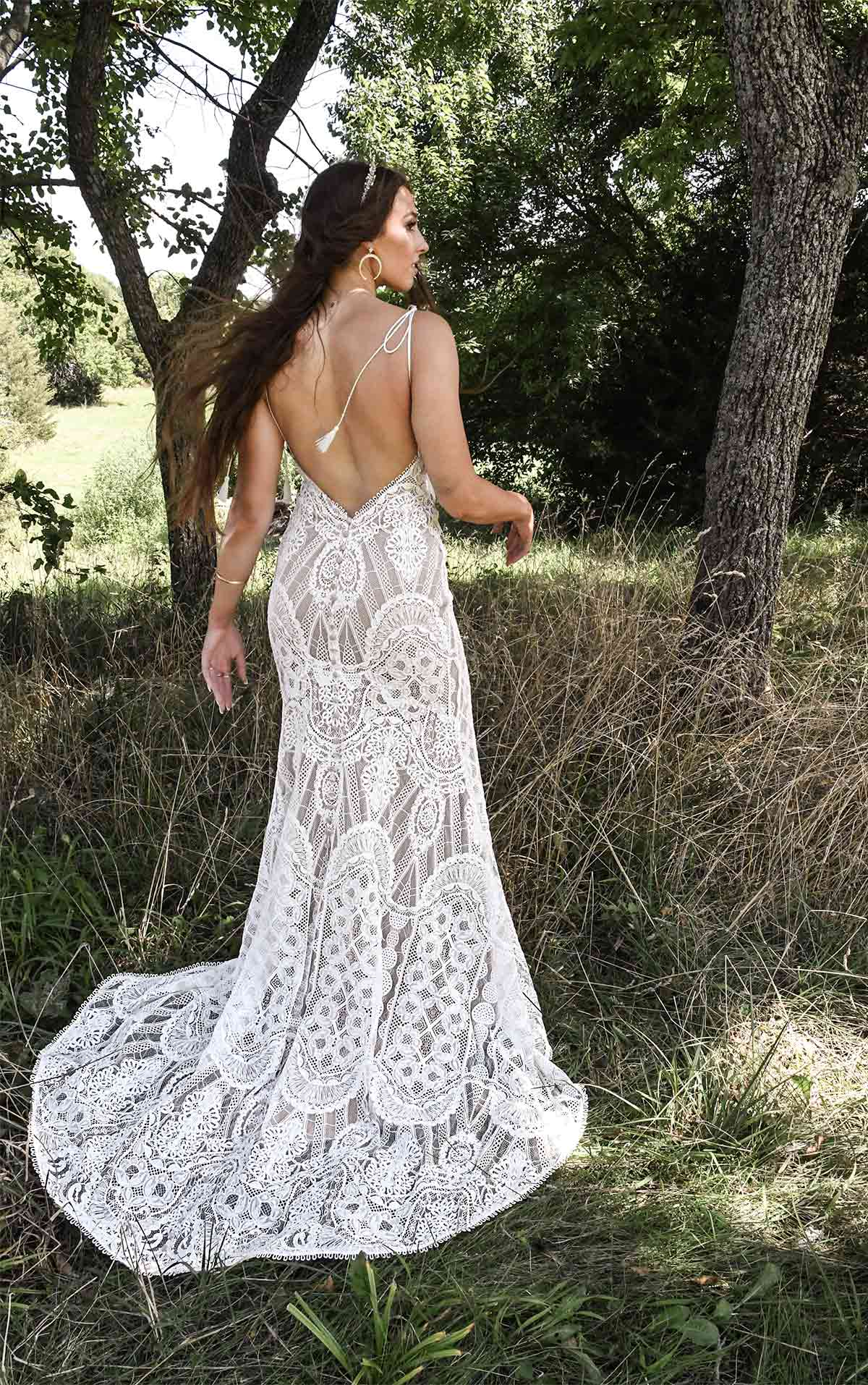 Arlo Vintage Lace Wedding Dress with Slit and Braided Straps by All Who Wander