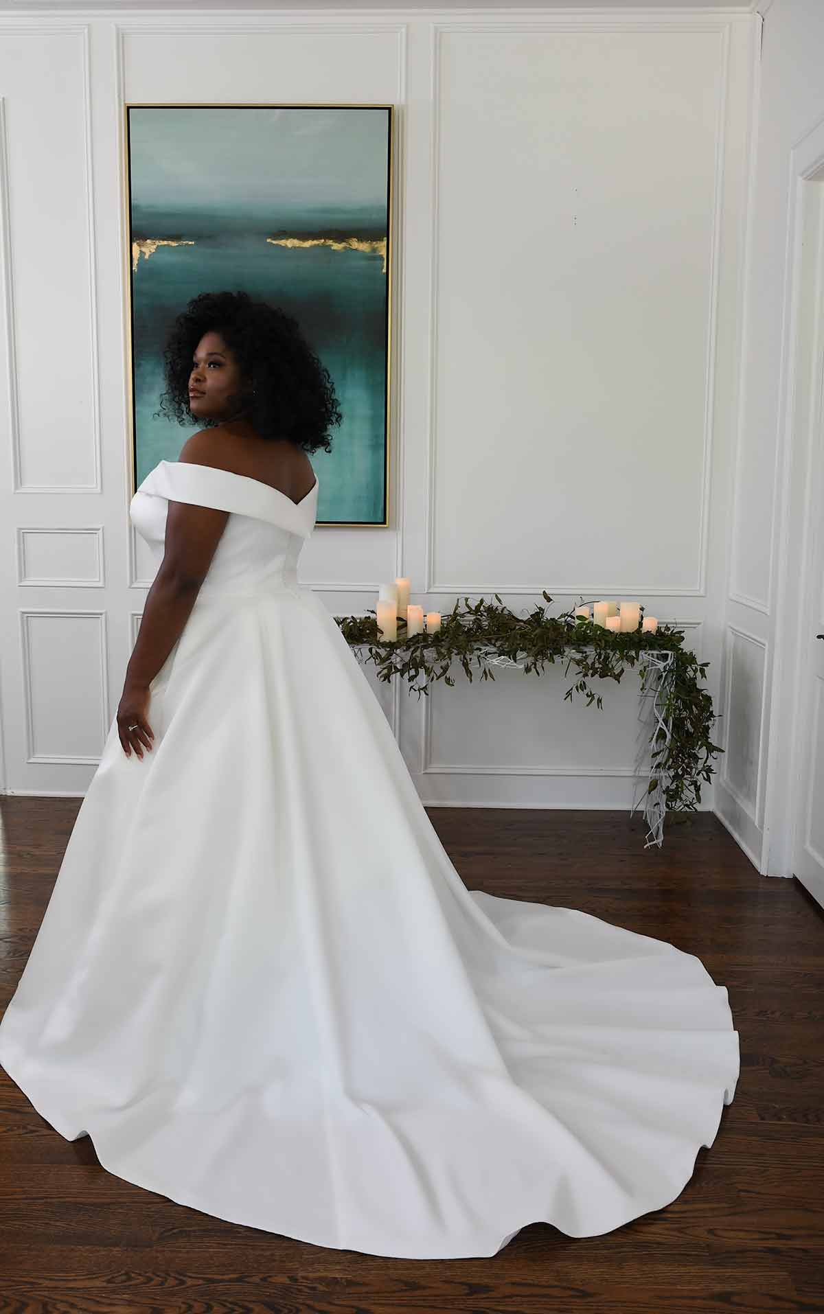 D3232+ Classic and Modern Off-Shoulder Plus Size Ballgown by Essense of Australia