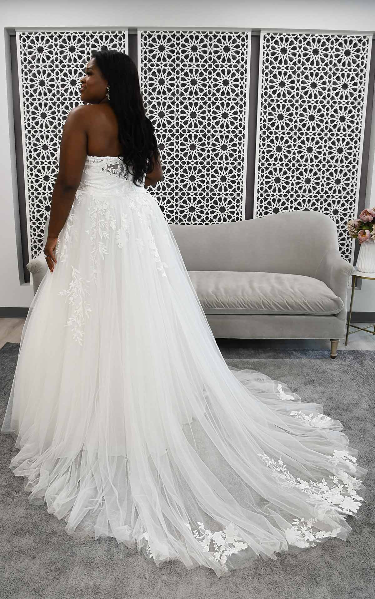7052+ Strapless A-Line Plus Size Wedding Dress with Illusion Plunge by Stella York