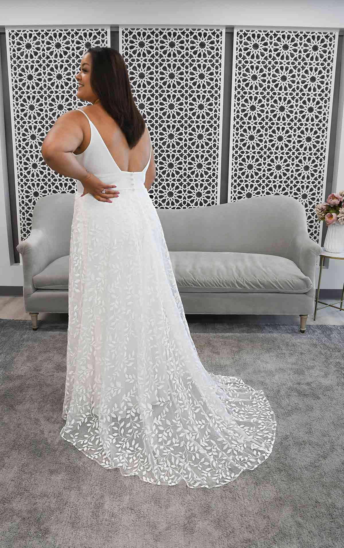 7283+ Clean Beach A-Line Plus Size Wedding Dress by Stella York
