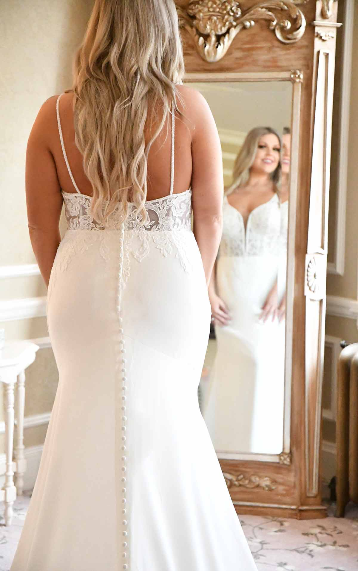 7185+ Clean Modern Plus Size Wedding Dress with Sheer Bodice by Stella York