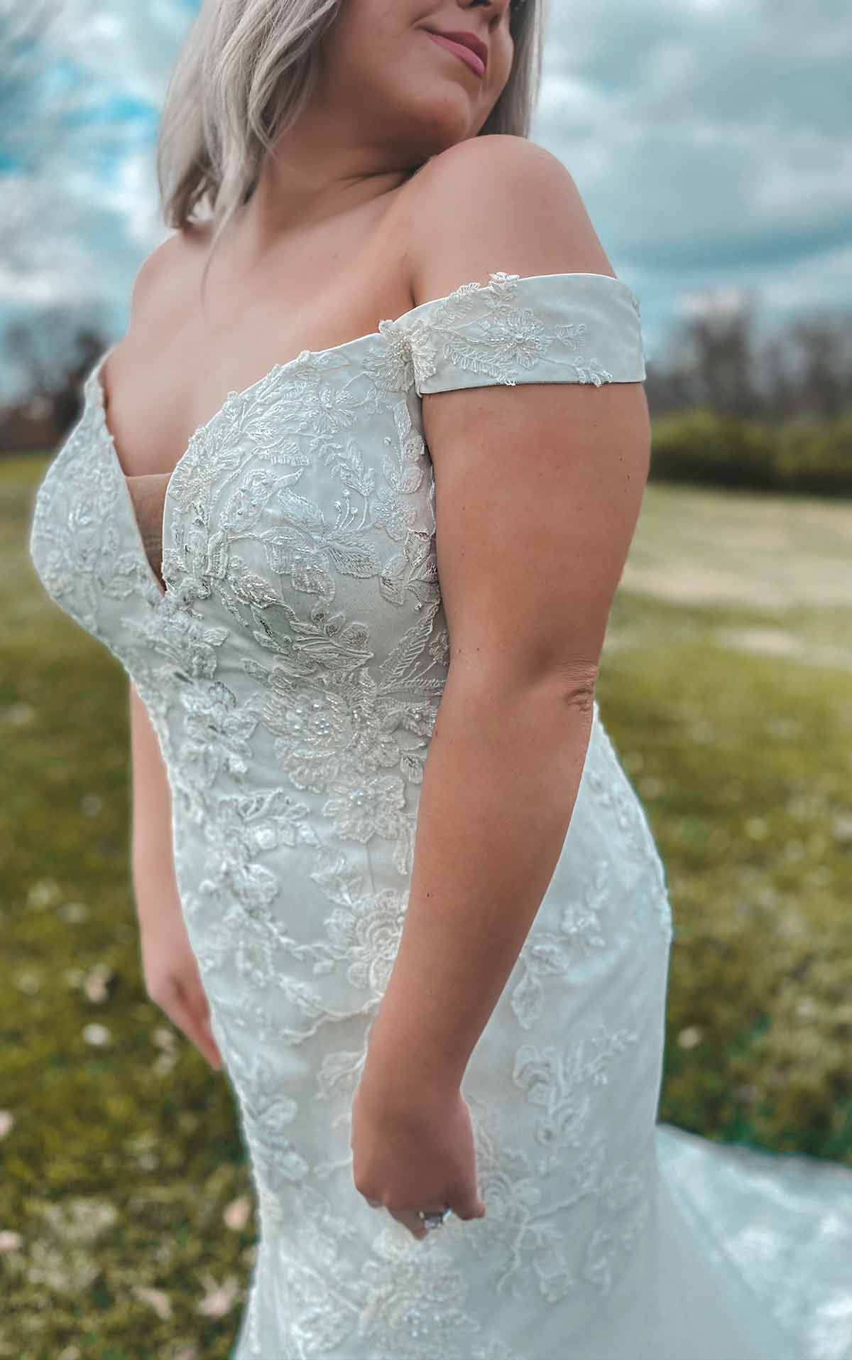 7272+ Off-Shoulder Plus Size Wedding Dress with Shimmer by Stella York