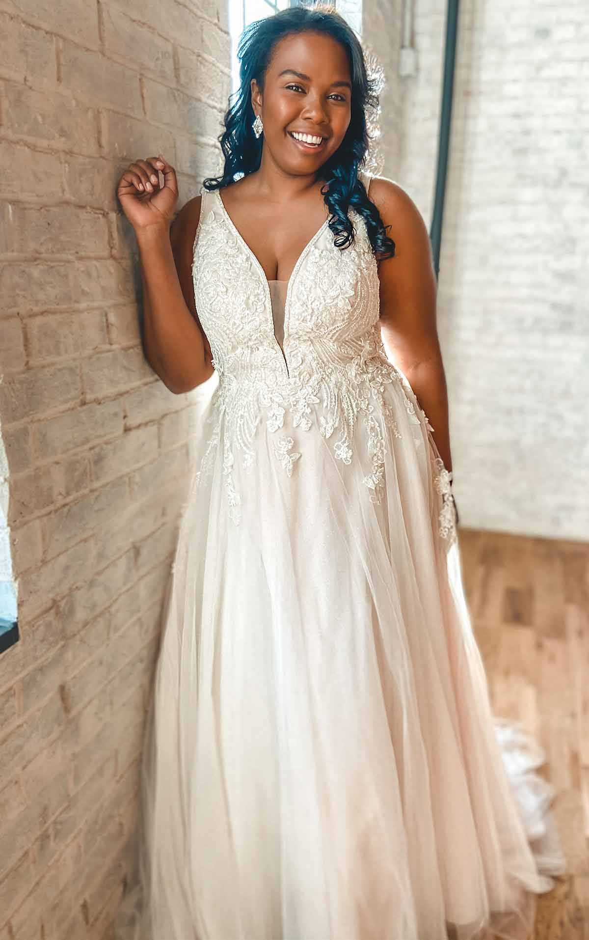 D3151+ Lace and Tulle A-Line Plus Size Wedding Dress with 3D Details by Essense of Australia