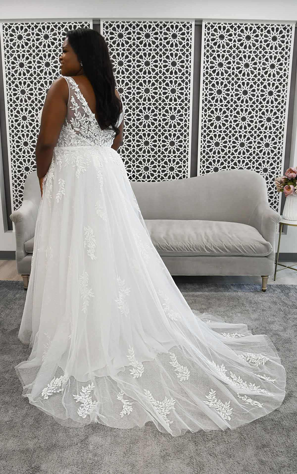 7177+ Boho-Style Plus Size Wedding Dress with Sheer Details by Stella York