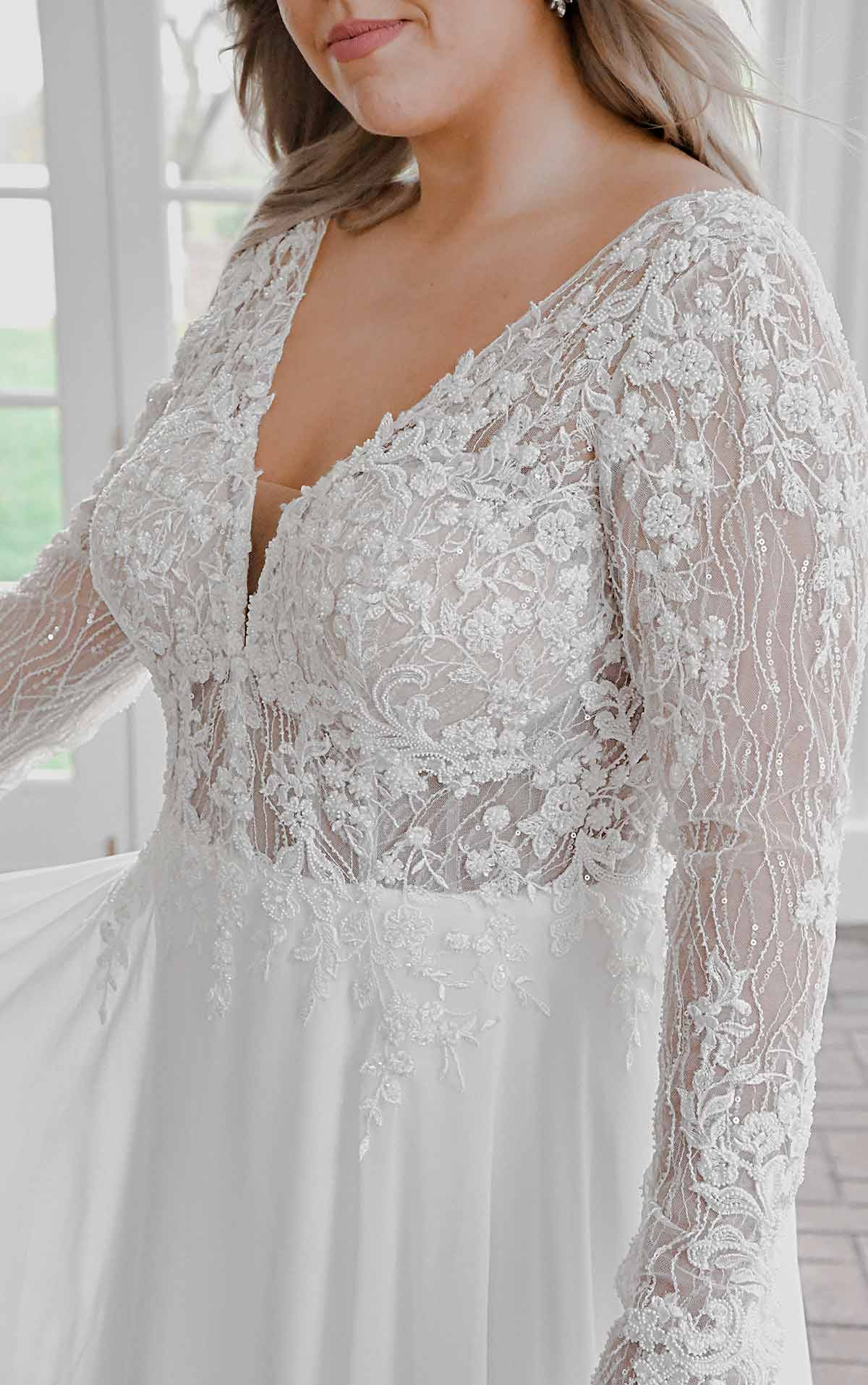 7291+ Modern Mixed-Fabric Plus Size Wedding Dress with Lace and Long Sleeves by Stella York