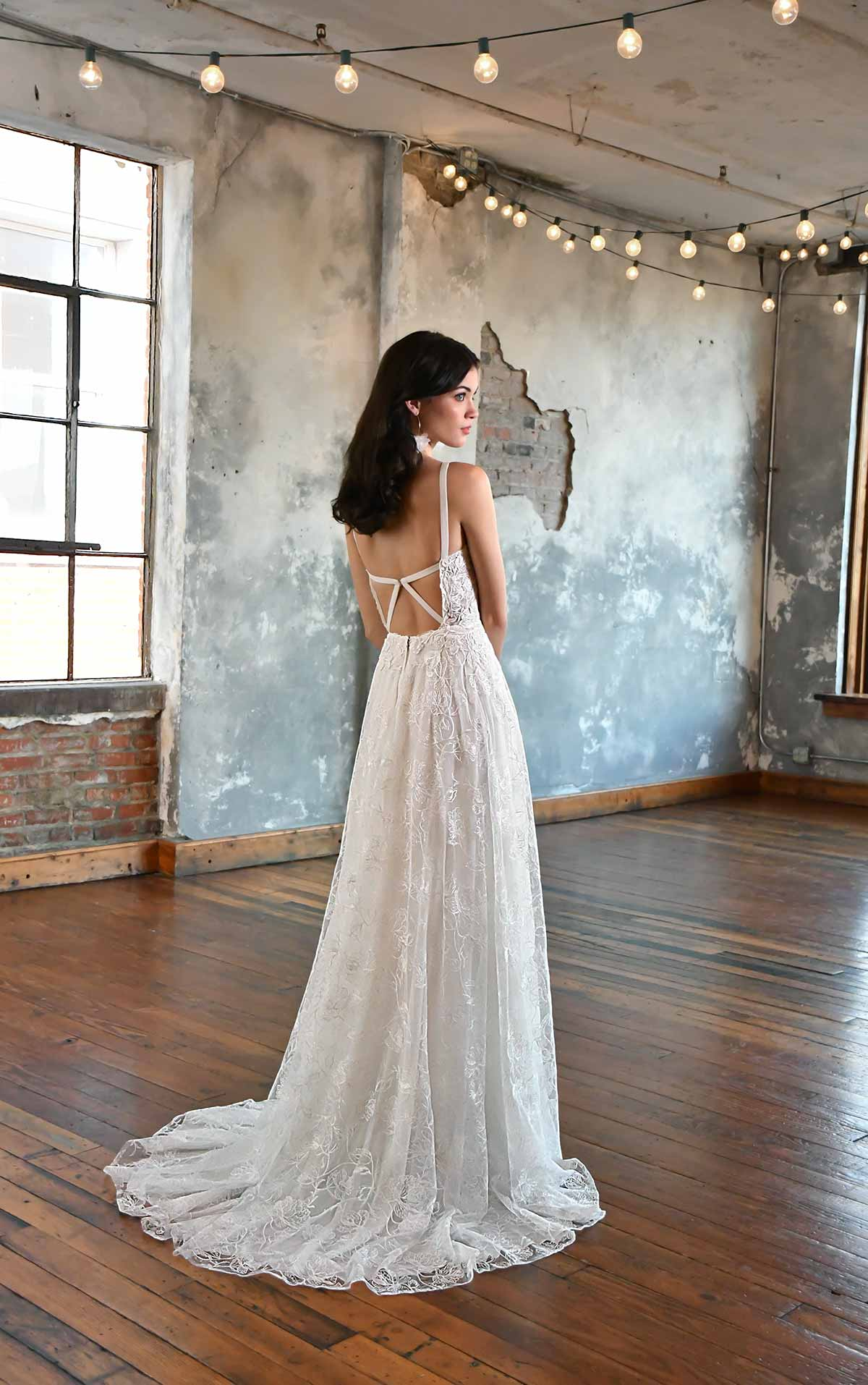 RUMUR Floral Lace Wedding Gown with Defined Bustline by All Who Wander