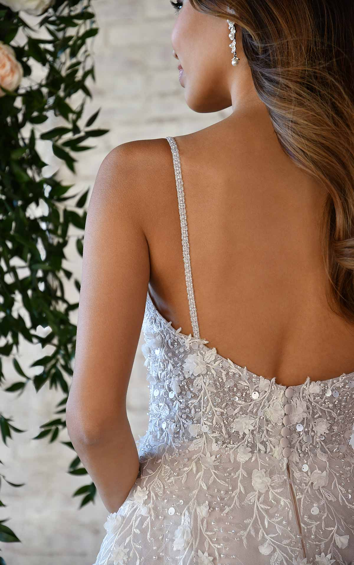 7322 Sweetheart Wedding Dress with Pearl, Floral and Sequin Embellishments by Stella York