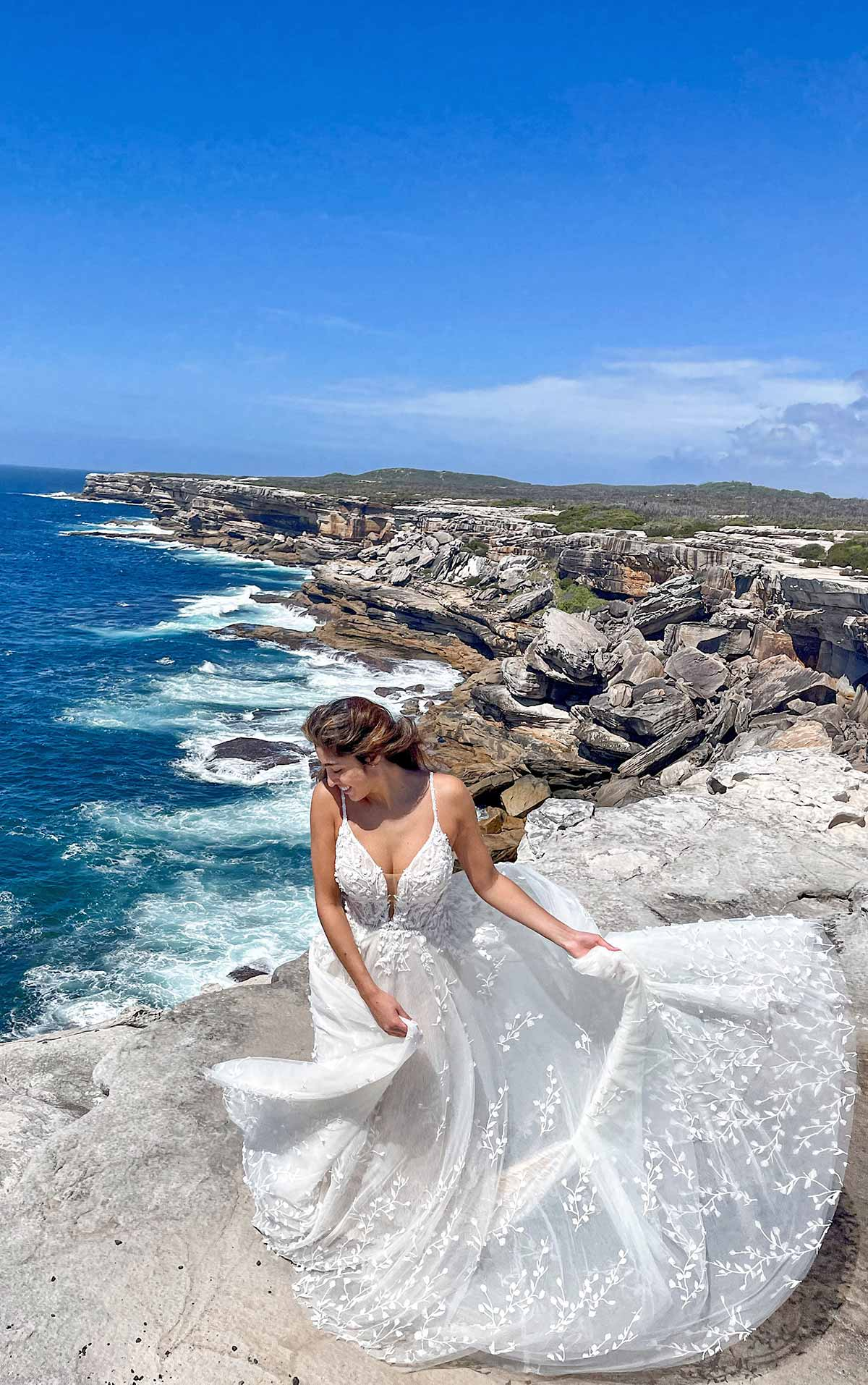 1323 Romantic Lace Wedding Dress with 3D Floral Embellishments by Martina Liana