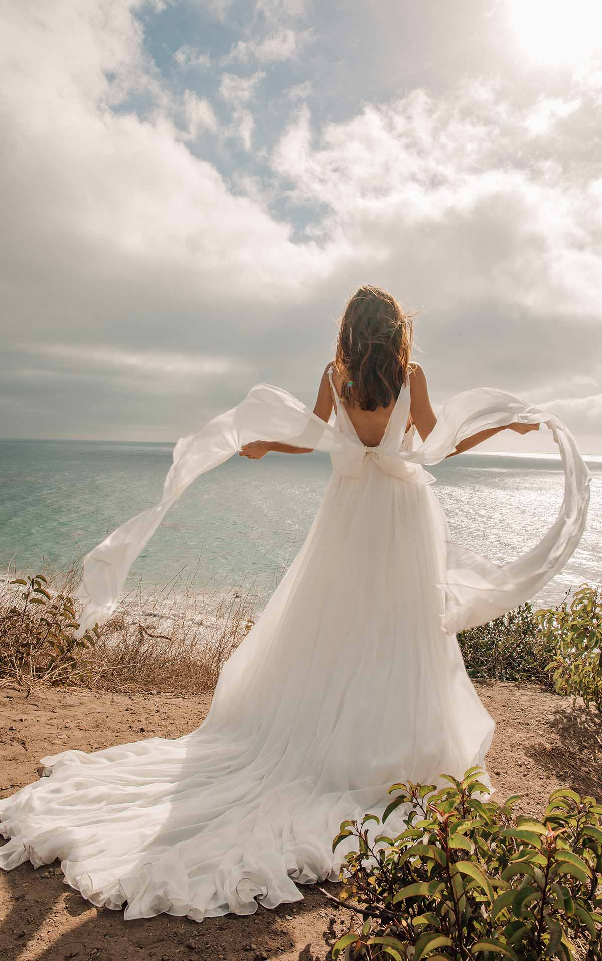 1345 Simple & Sophisticated Wedding Dress with Detachable Steamers by Martina Liana