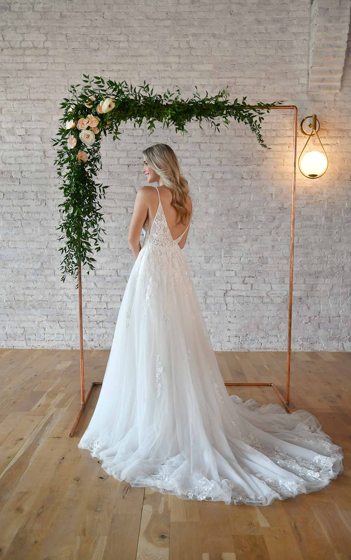 7193 Romantic Lace Wedding Dress with Sheer Bodice by Stella York