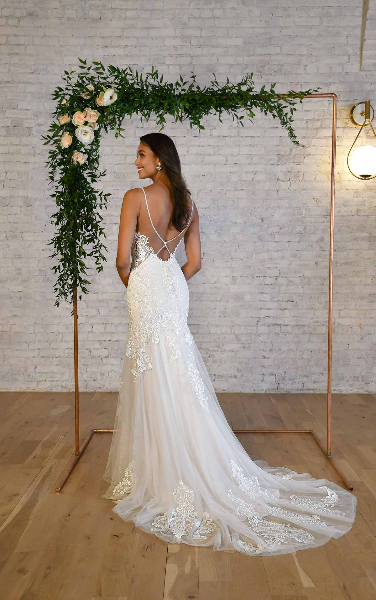 7325 Halter Neckline Fit-and-Flare Wedding Dress with Back Detail by Stella York