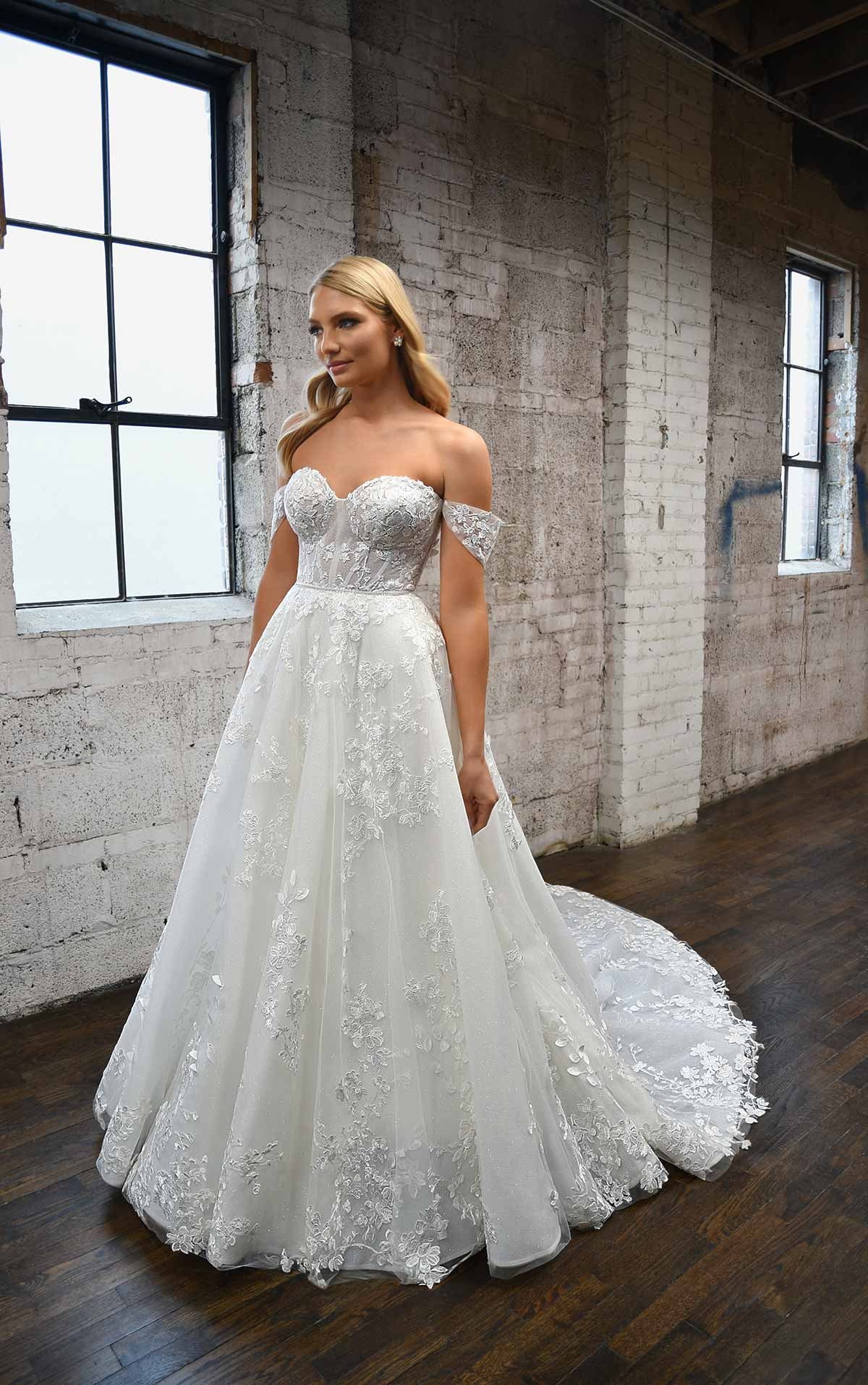 1342 Sweetheart Off-the-Shoulder Wedding Dress with Floral Lace Details by Martina Liana