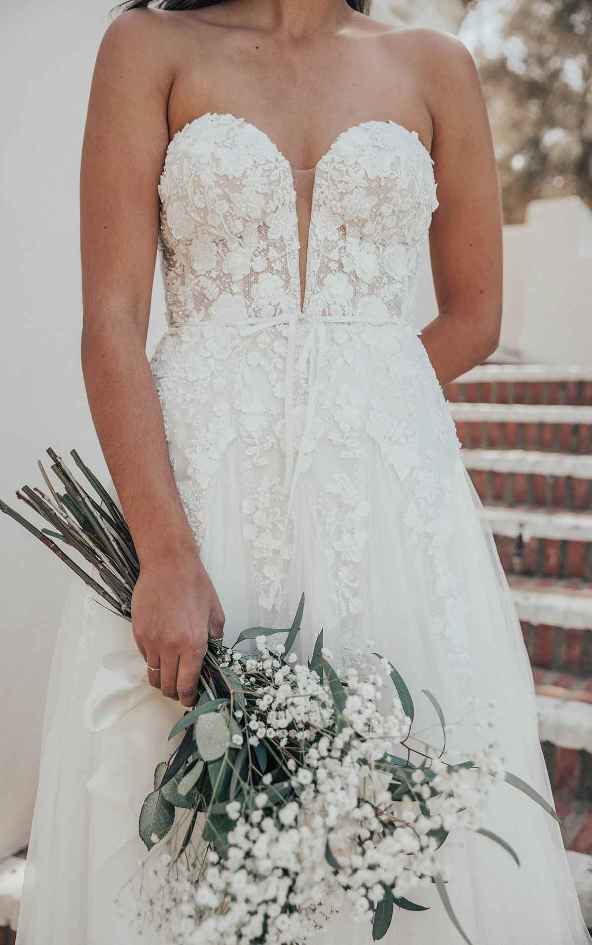 1358 Romantic Sweetheart Neckline Wedding Dress with Floral Details by Martina Liana