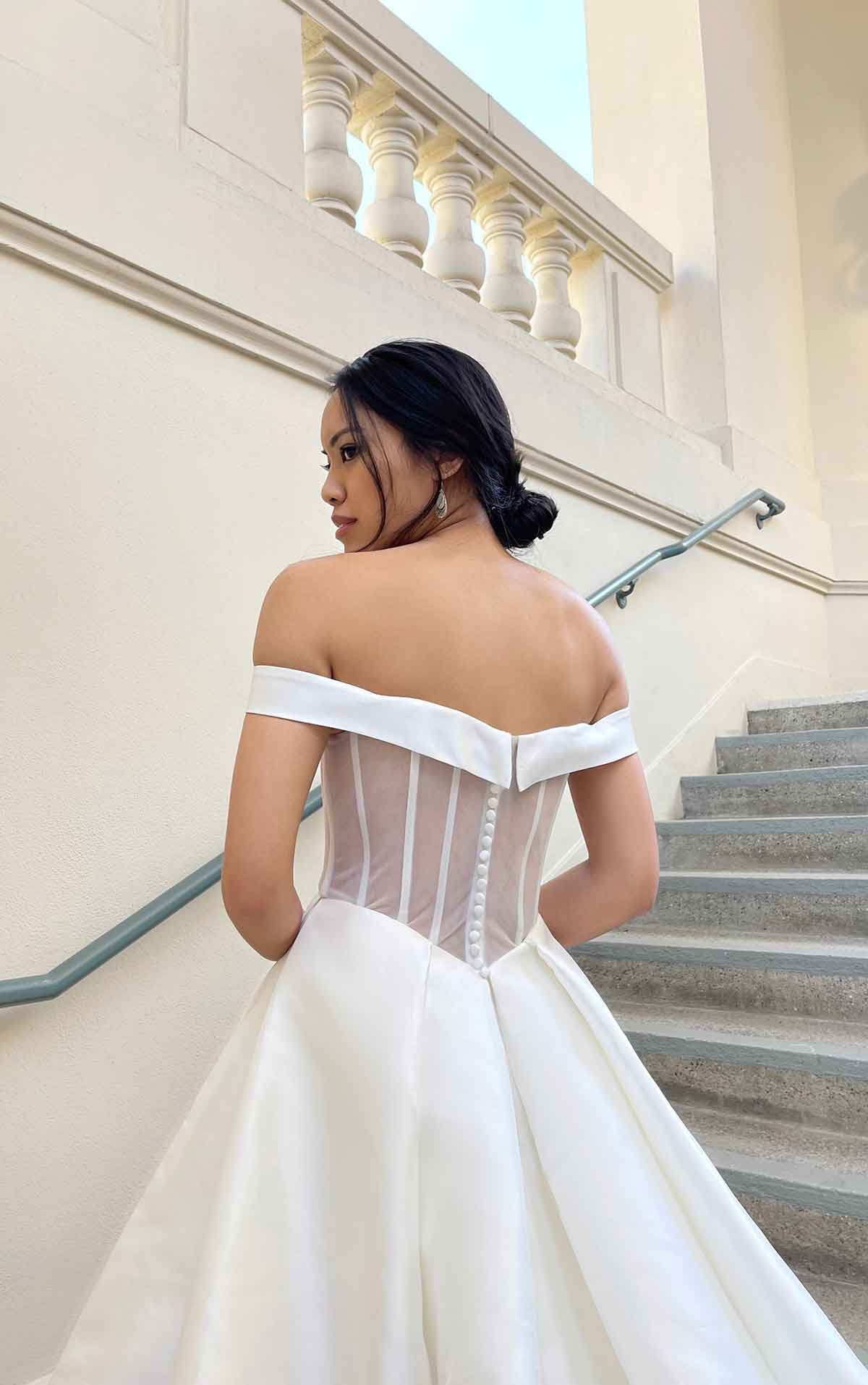 1378 Simple Ballgown with Cutouts and Sheer Back by Martina Liana