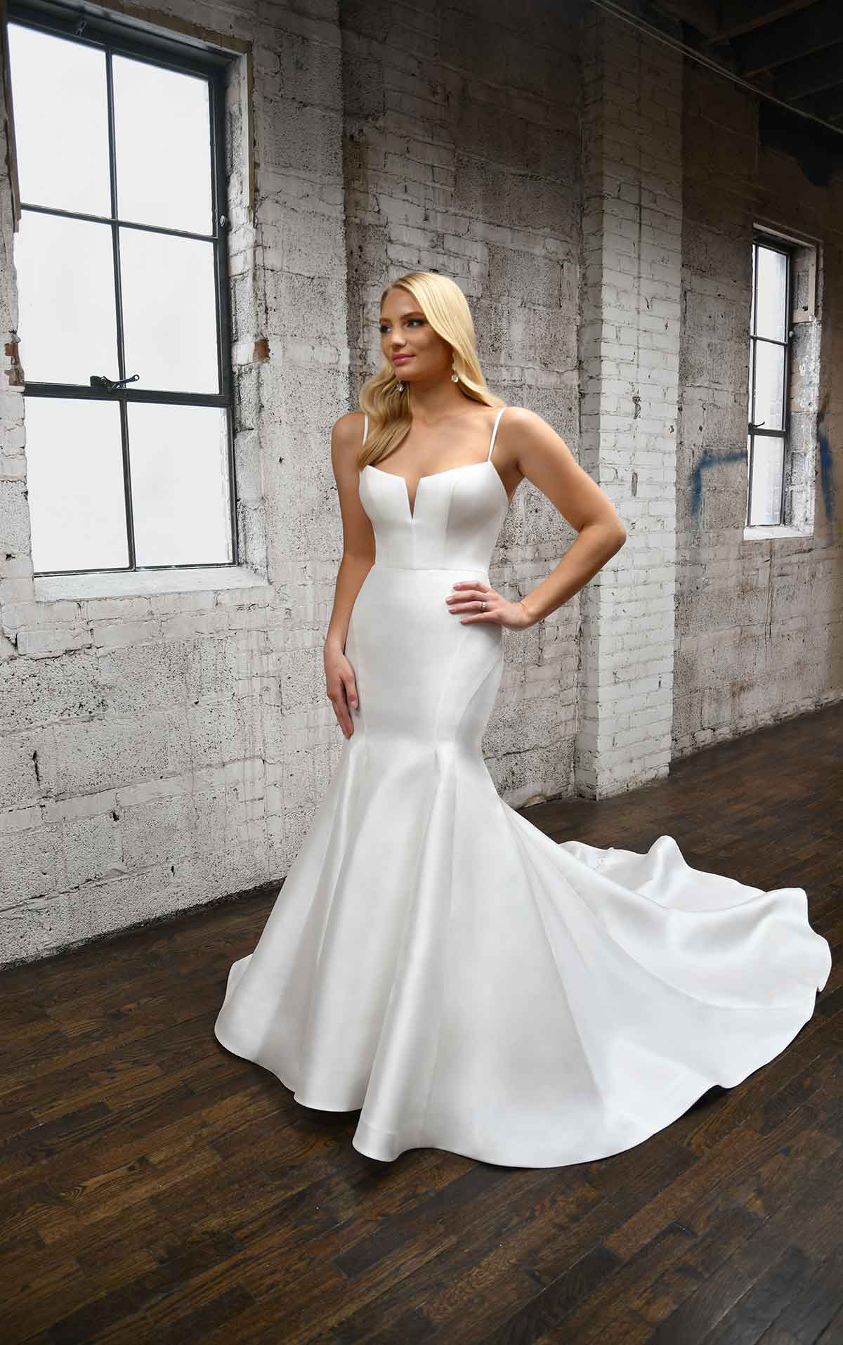 1387 Fit-and-Flare Wedding Dress with Neck Cutout by Martina Liana
