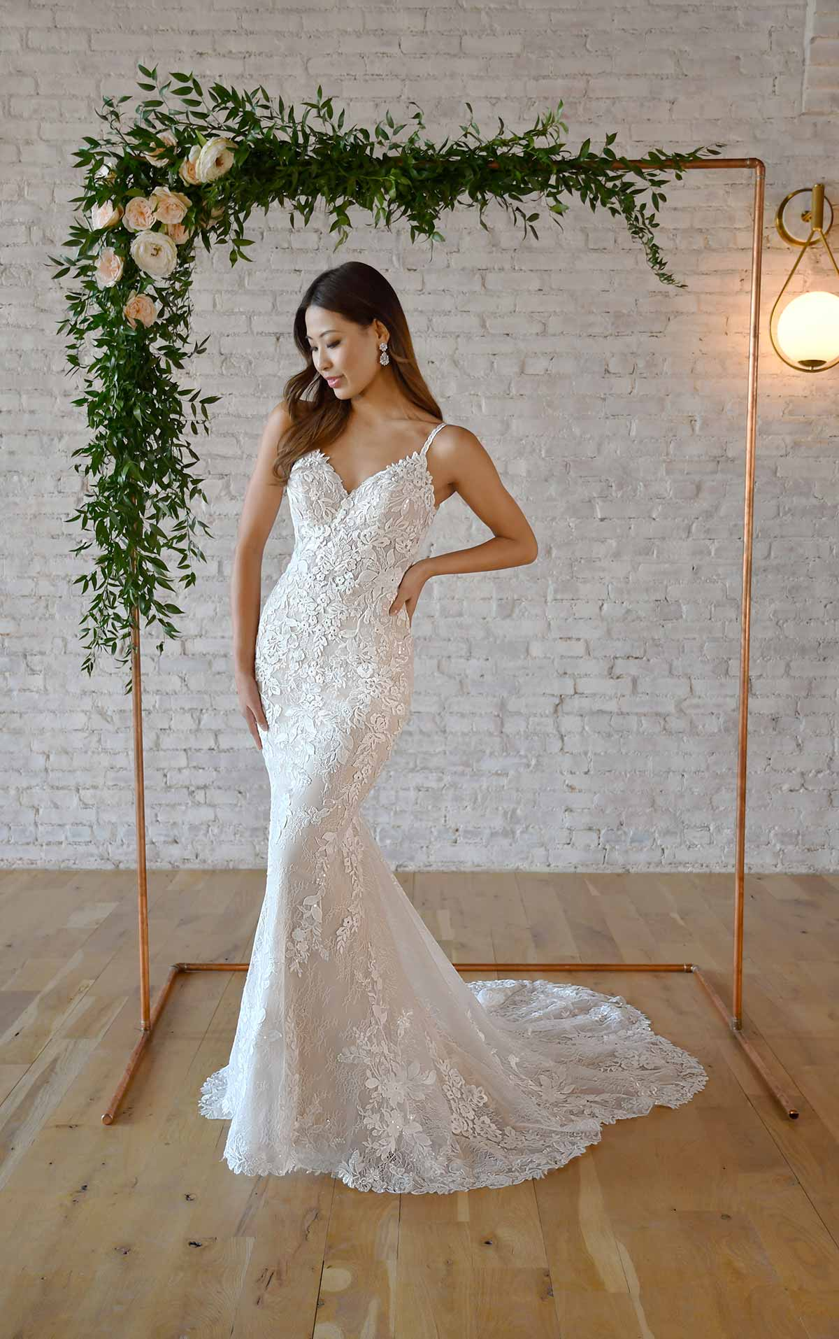 7370 Floral Lace Fit-and-Flare Wedding Dress with Open Back by Stella York