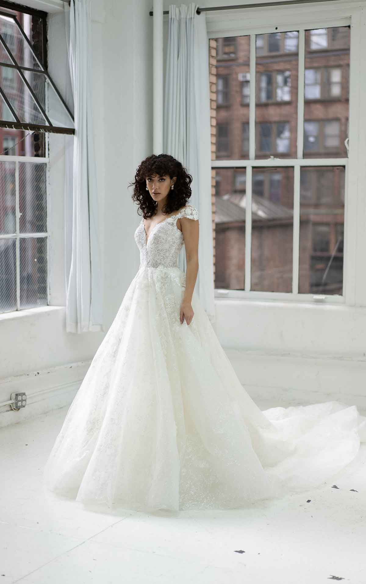1371 Dramatic Sparkling Ballgown with Lace Details and Keyhole Back by Martina Liana