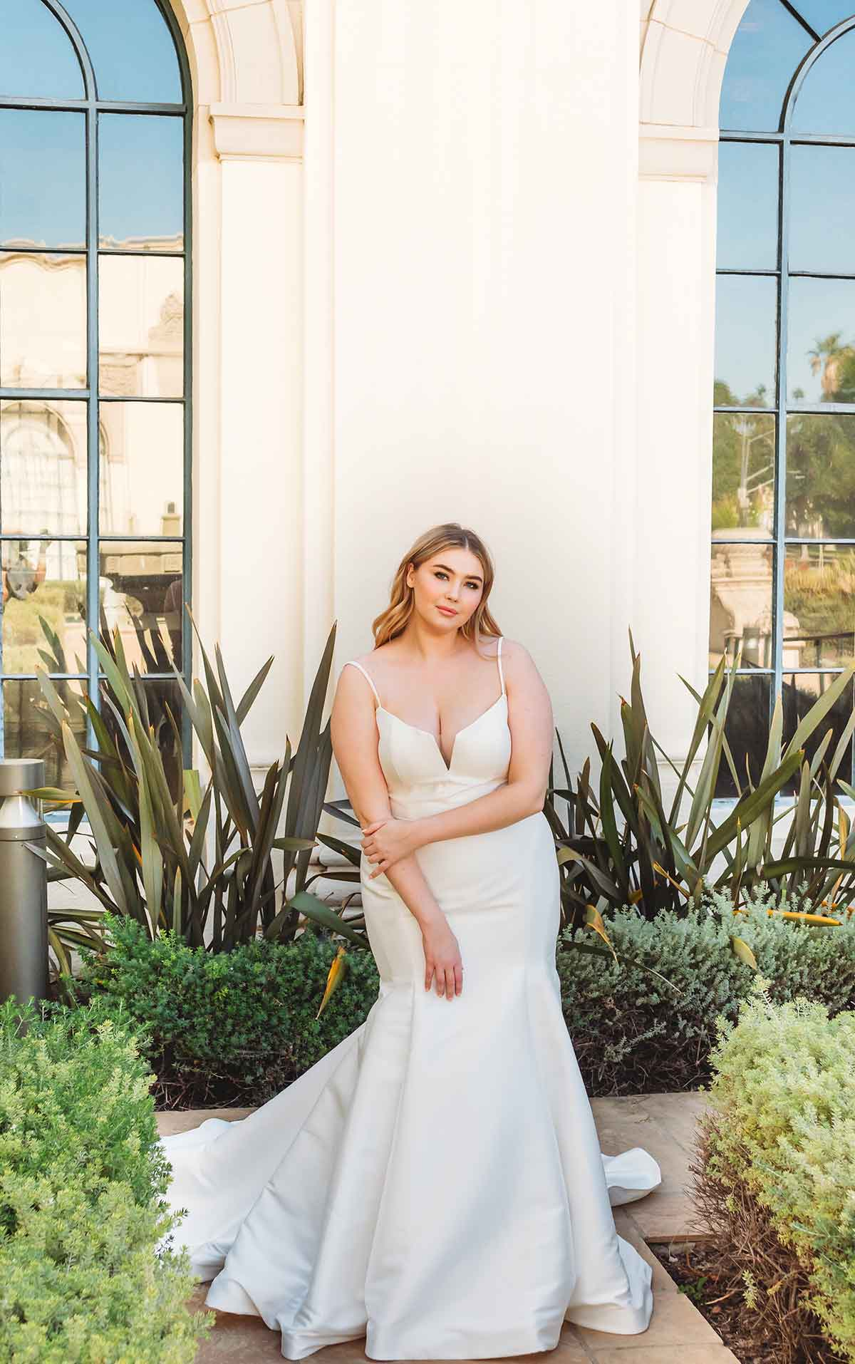 1387+ Fit-and-Flare Plus-Size Wedding Dress with Neck Cutout by Martina Liana