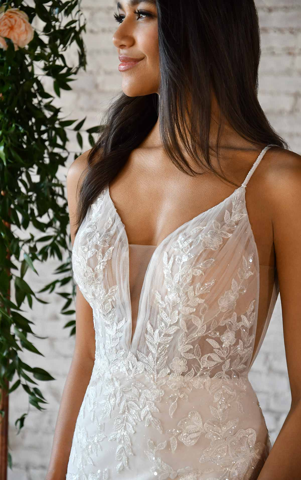 7388 Lace Fit-and-Flare Wedding Dress with Floral Lace by Stella York