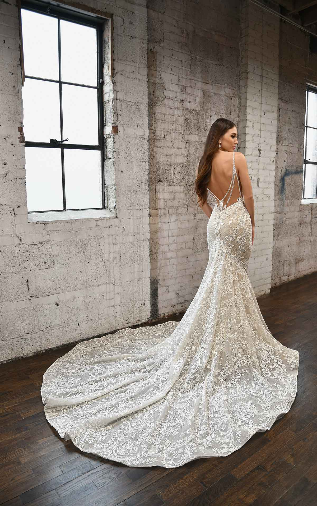1348 Glamorous Fit-and-Flare Wedding Dress with Back Strap Detail by Martina Liana