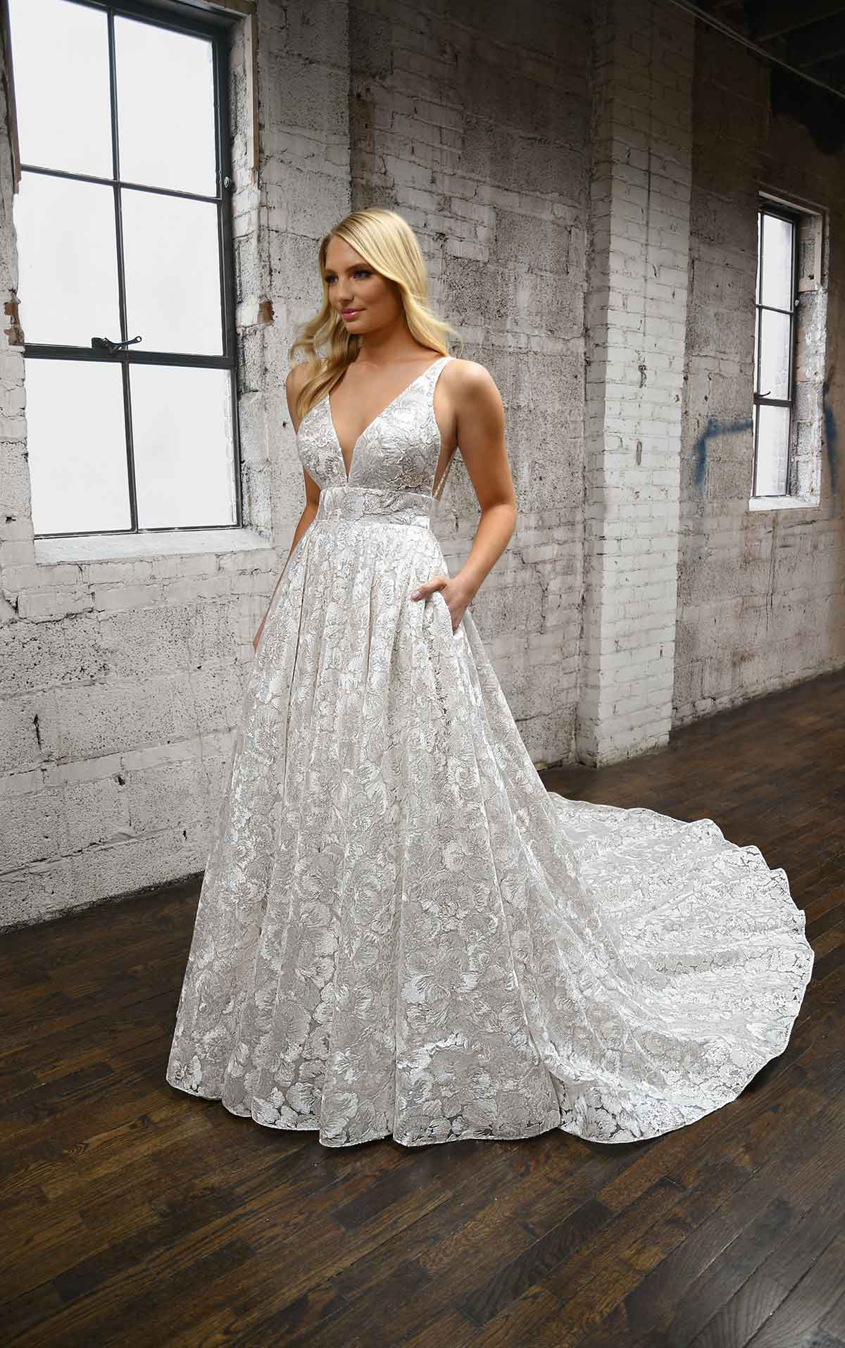 1373 Floral Lace Wedding Dress with Back Strap Detail by Martina Liana